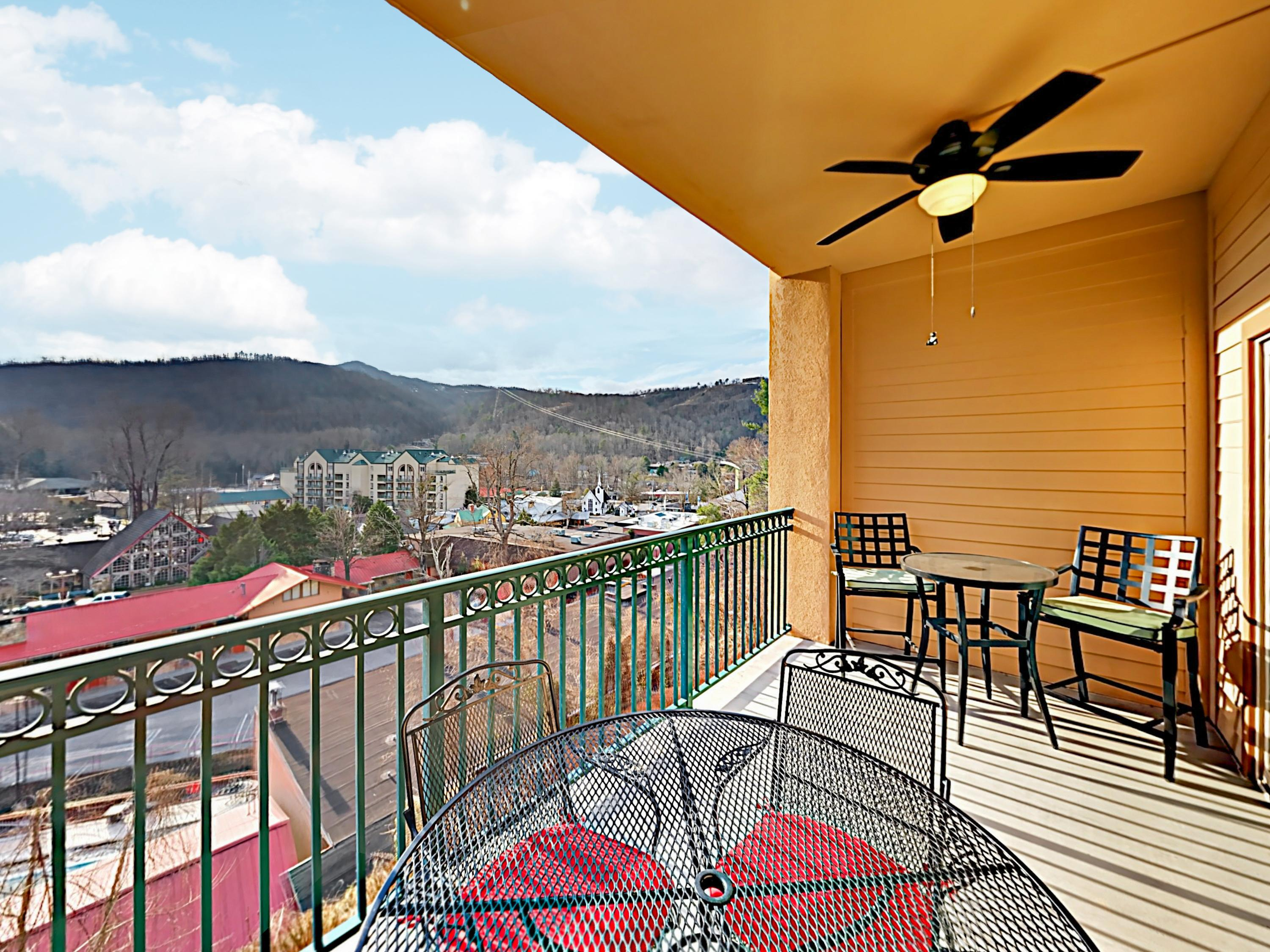 Enjoy beautiful views of downtown Gatlinburg from your private balcony with seating for 6.