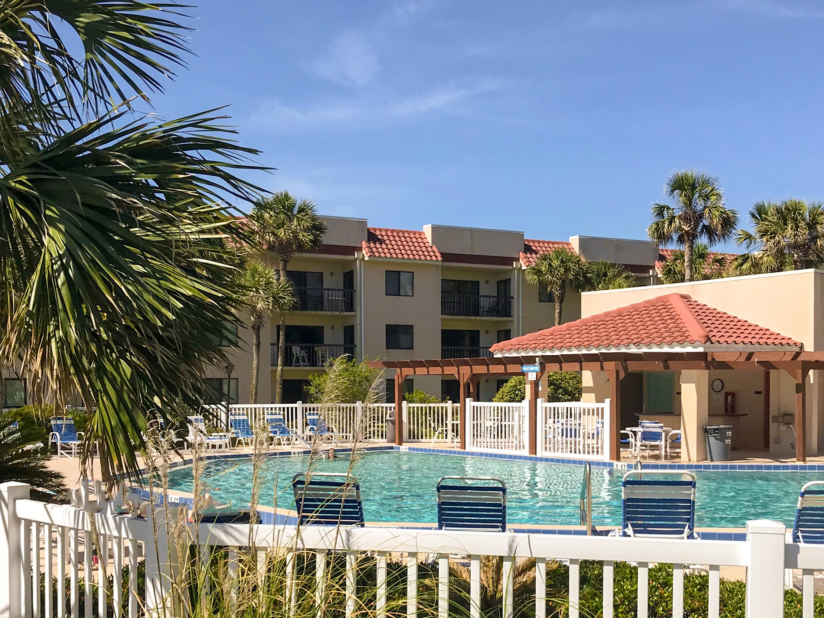 Access 1 of 2 heated shared pools in the gated community of Ocean Village Club.