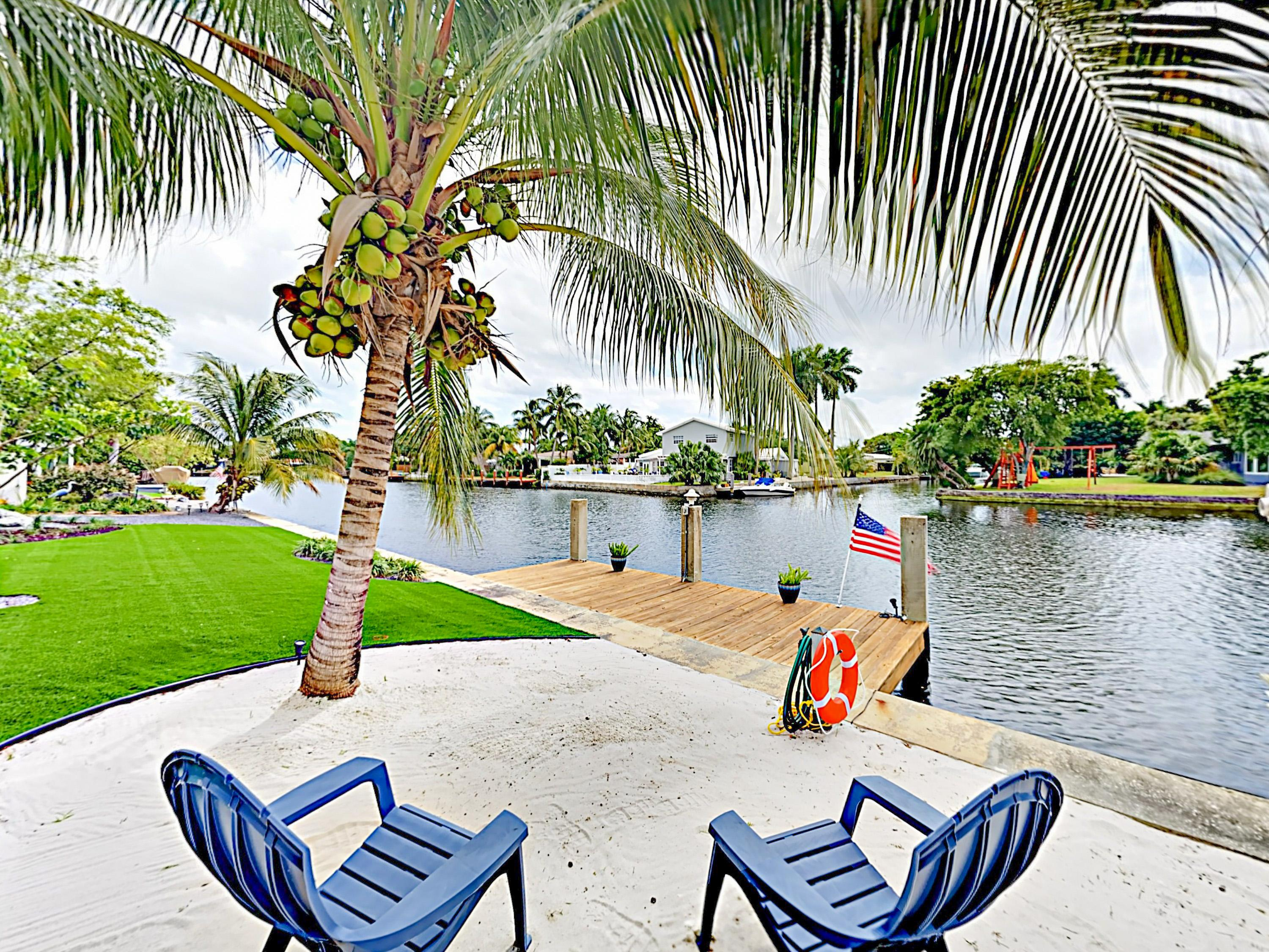 Enjoy the ambience of your own raised beach area beside the canal.