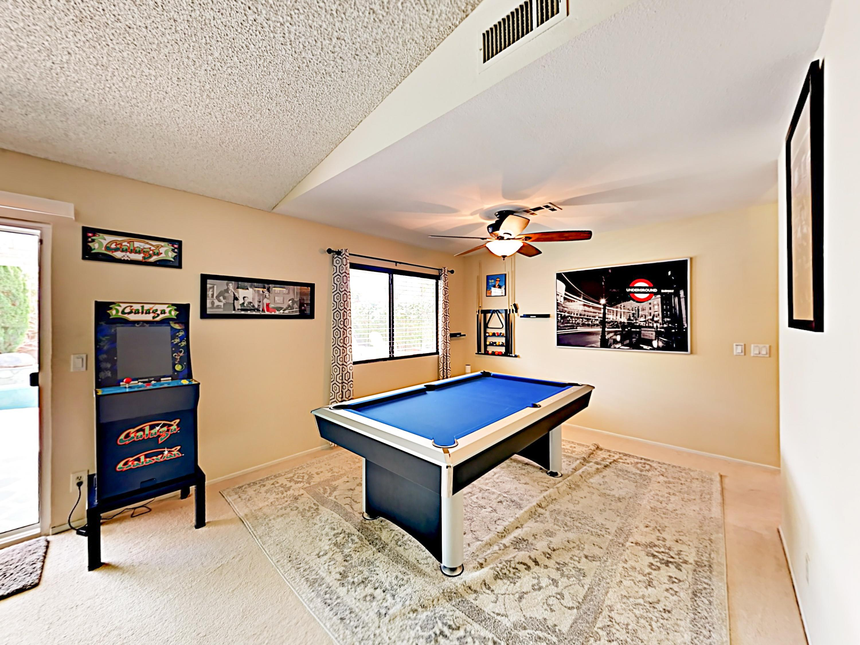 Play a fun arcade game or make use of the billiards table!