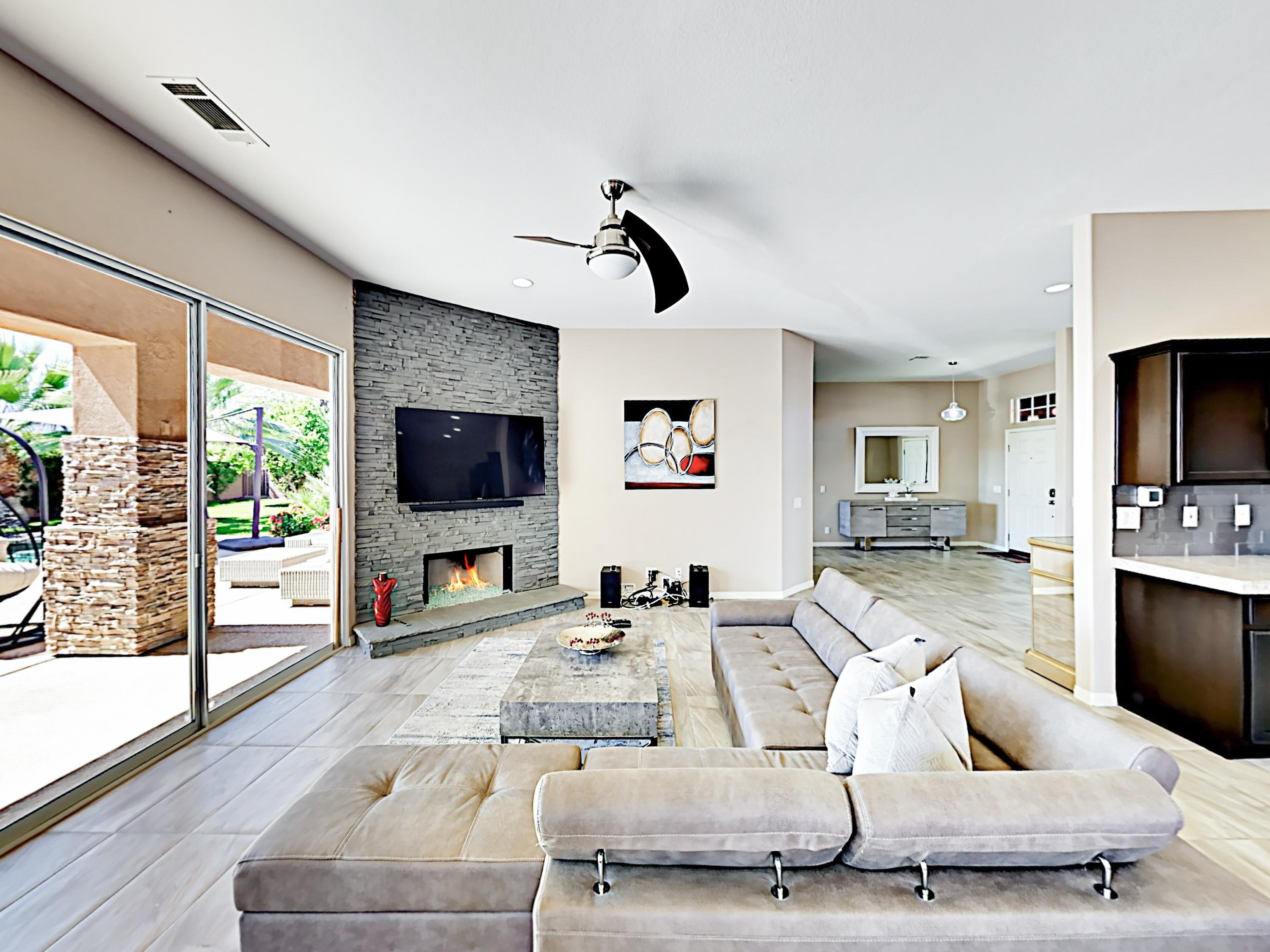 Upscale furnishings and contemporary decor fill this 2,800 square foot home with style.