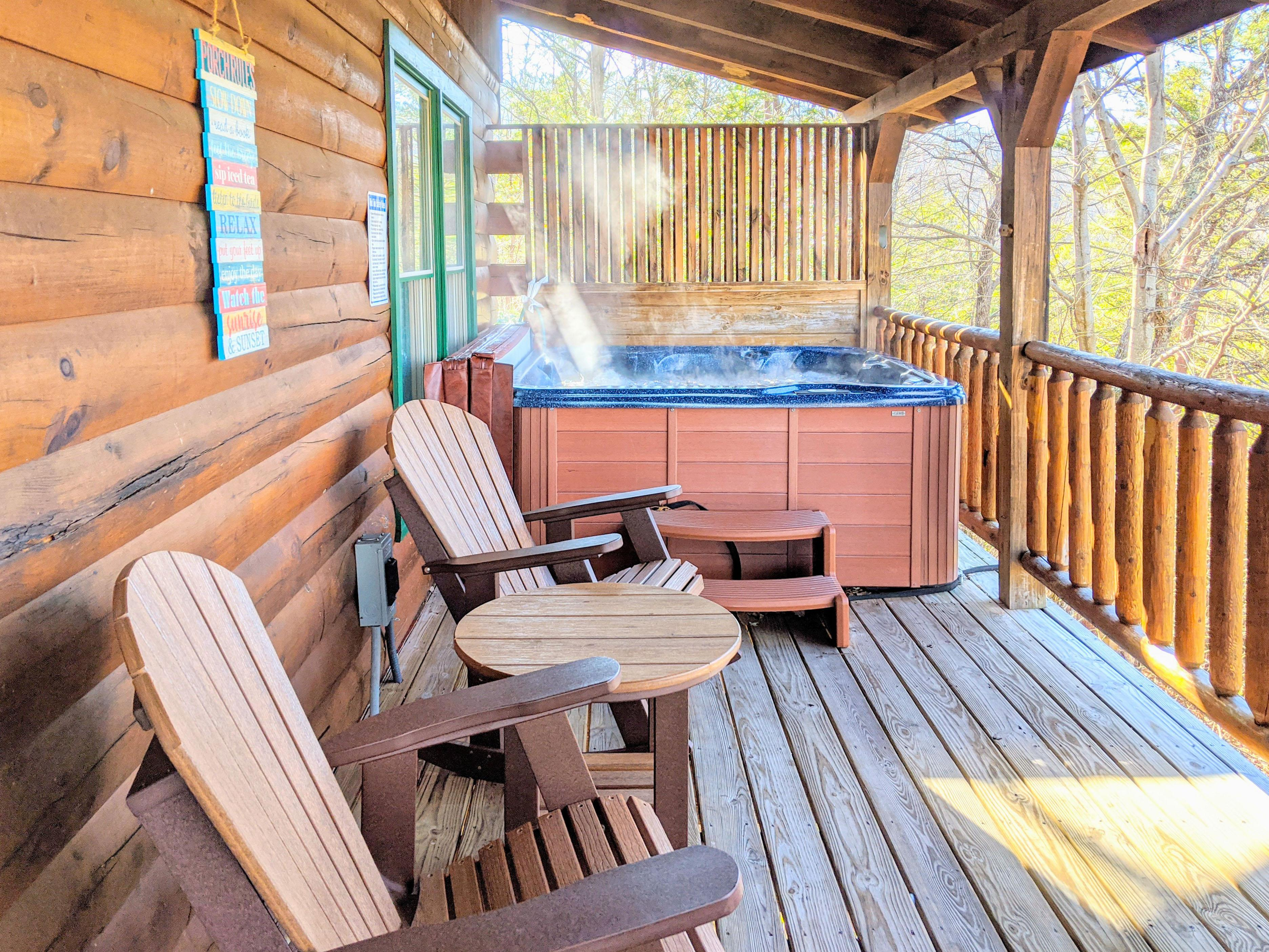 Take in the forest and mountain views from your private hot tub!
