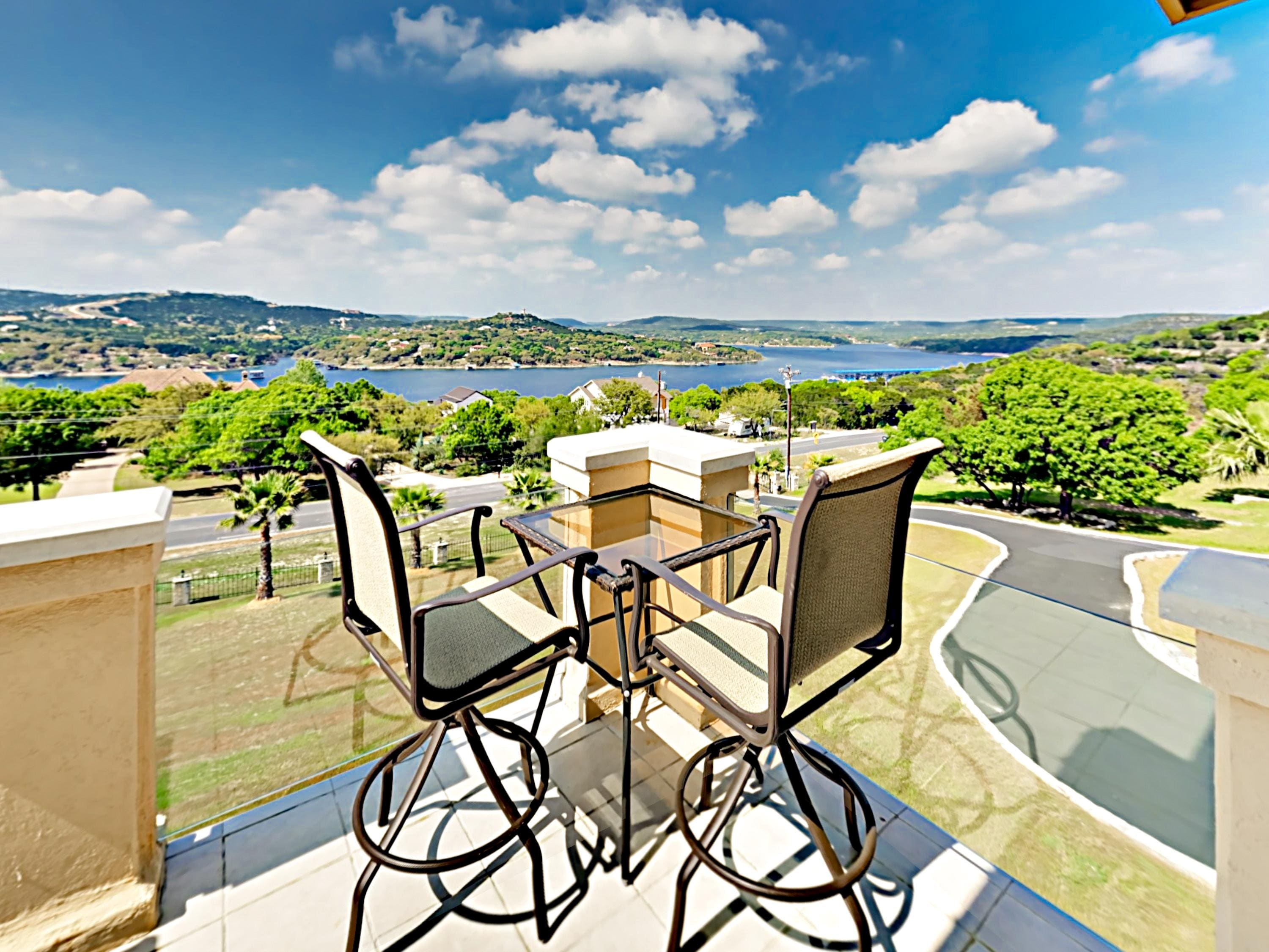 Take in sweeping views of Lake Travis from the 2nd-story balcony.