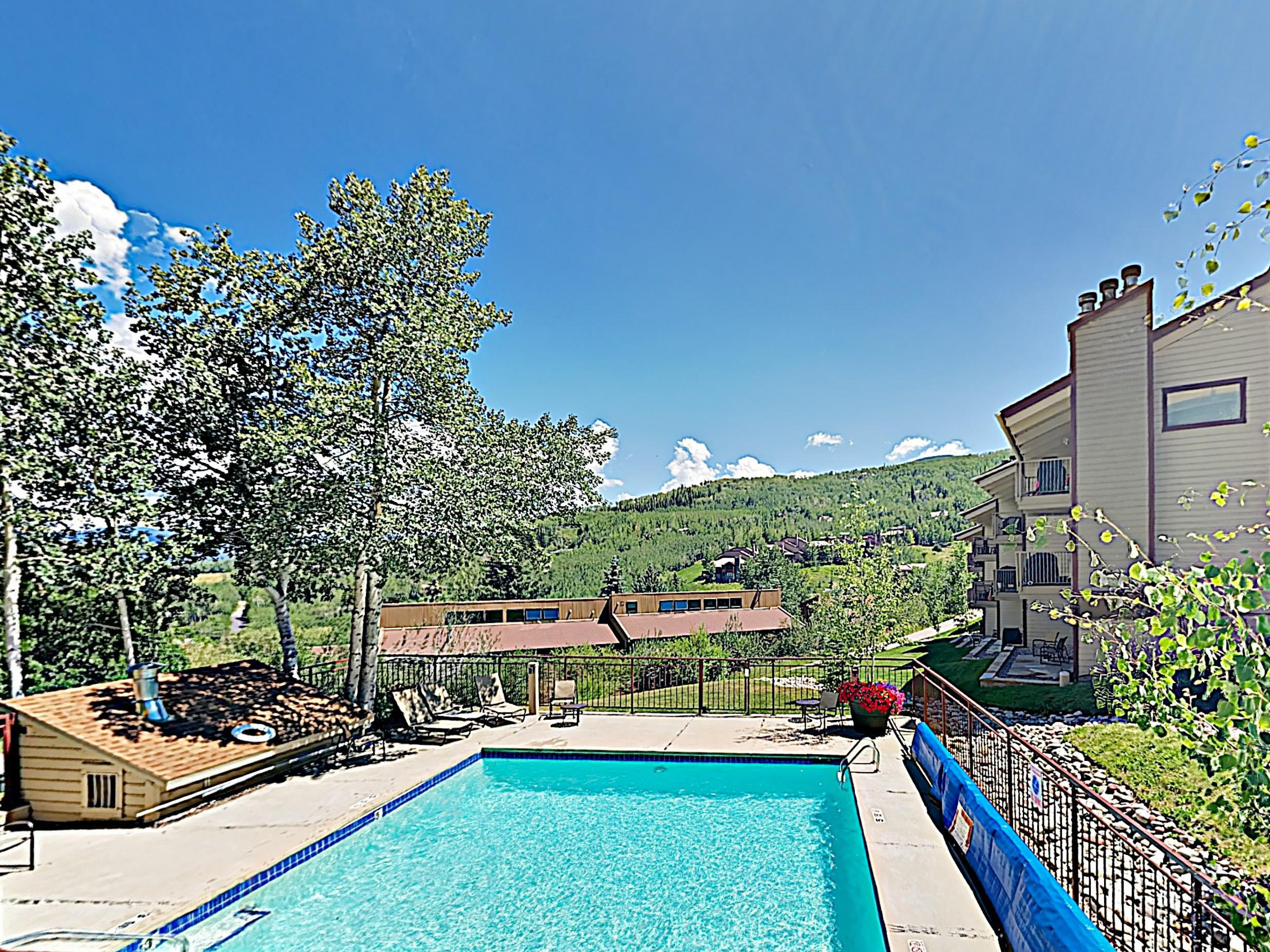 Enjoy swims with a mountain view in the heated pool.