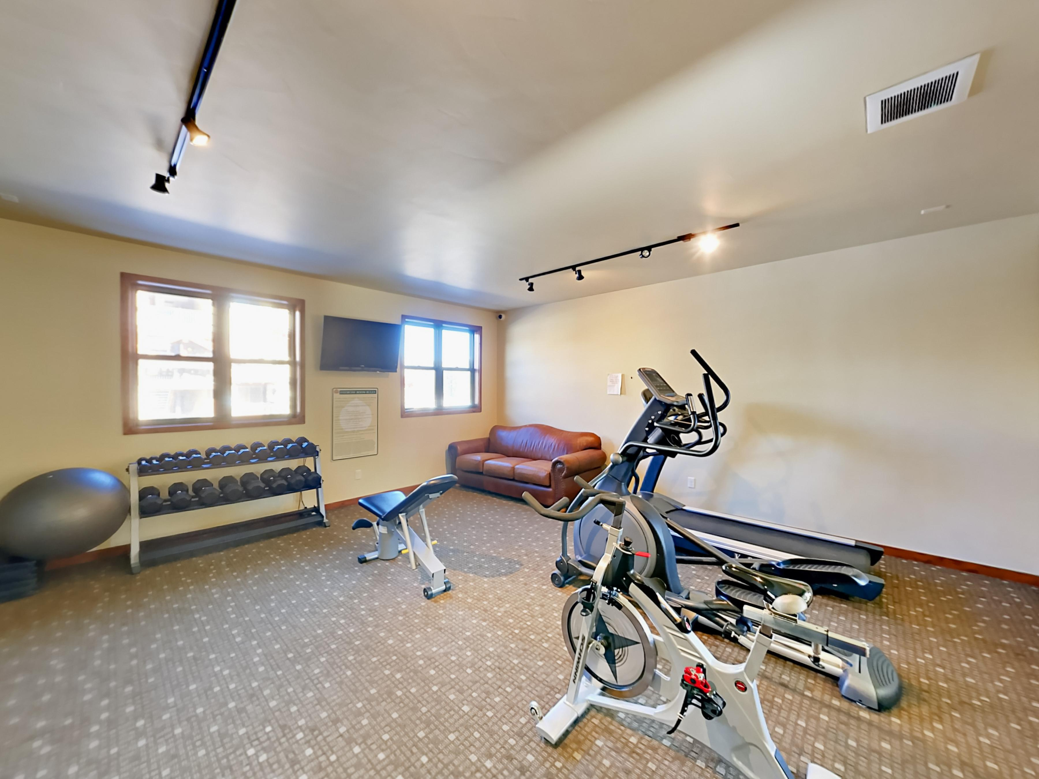 Amenities includes access to a shared gym.