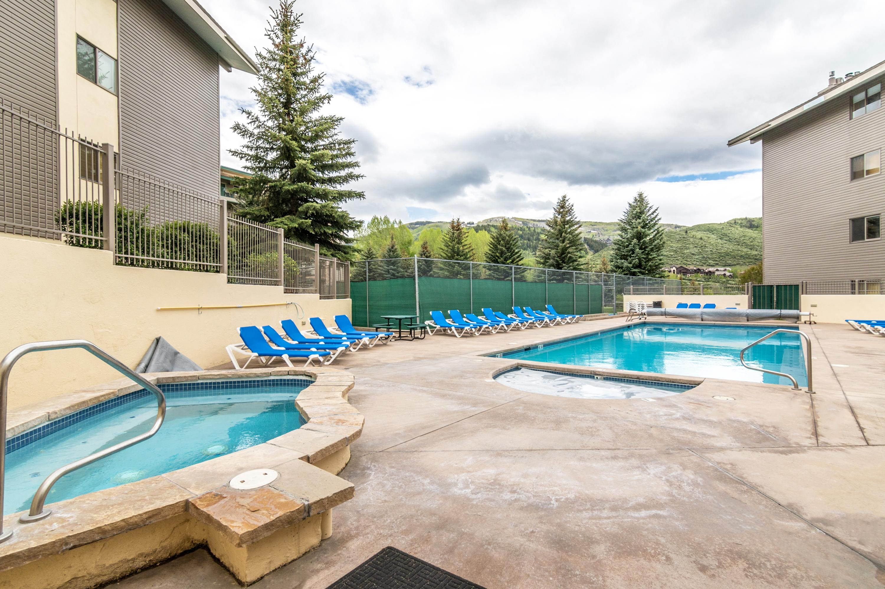 Enjoy resort-style amenities, including a year-round heated pool and multiple hot tubs.
