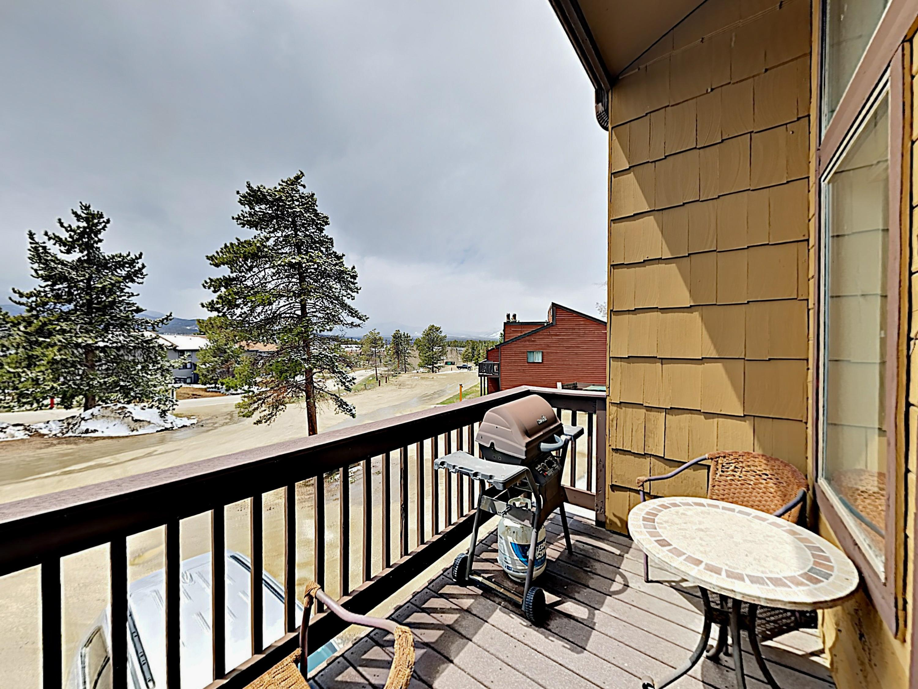 Enjoy the crisp mountain air on the balcony while dinner sizzles on the grill.