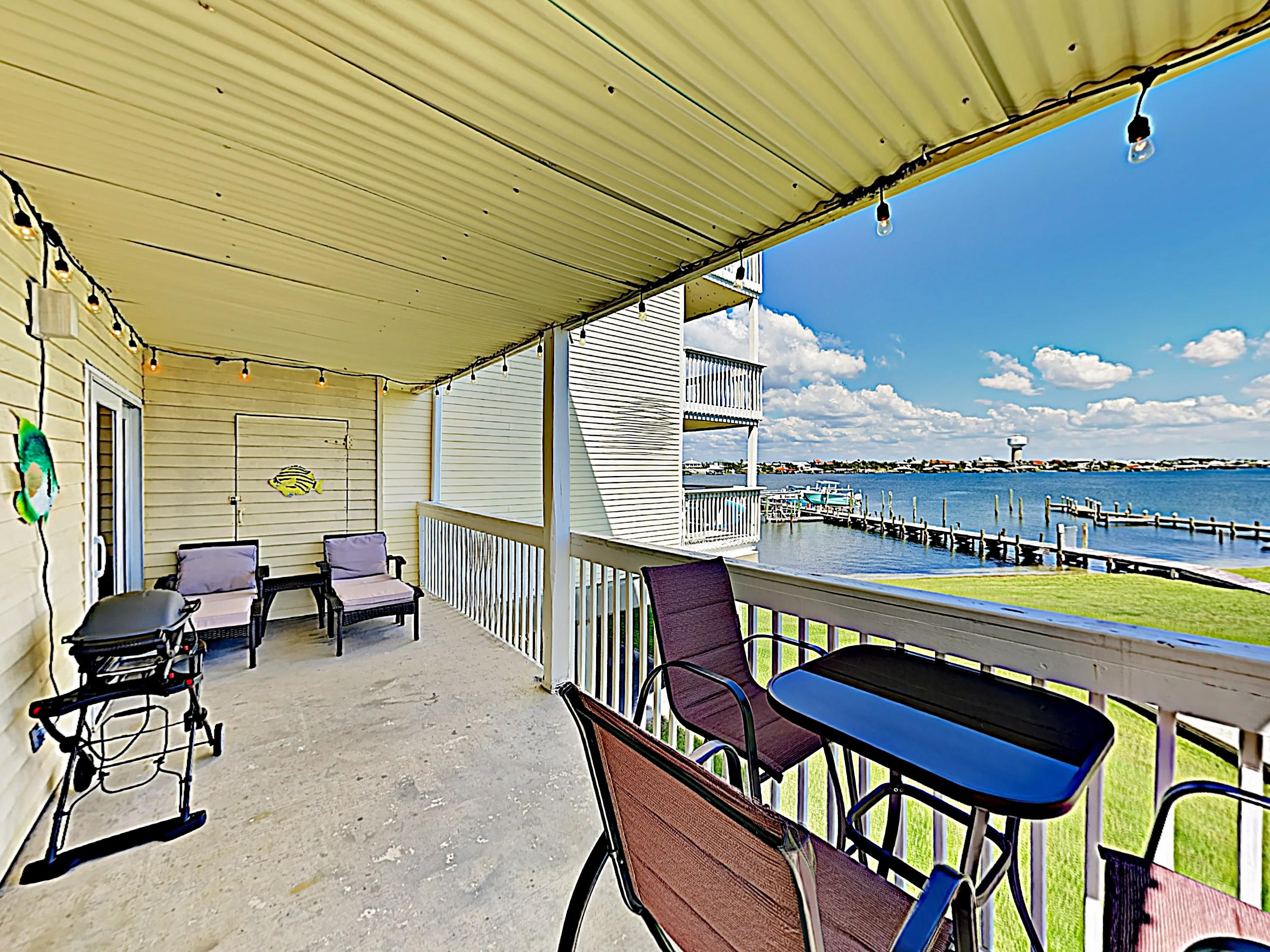 Take in wide waterfront views from the private balcony, furnished with 2 loungers.