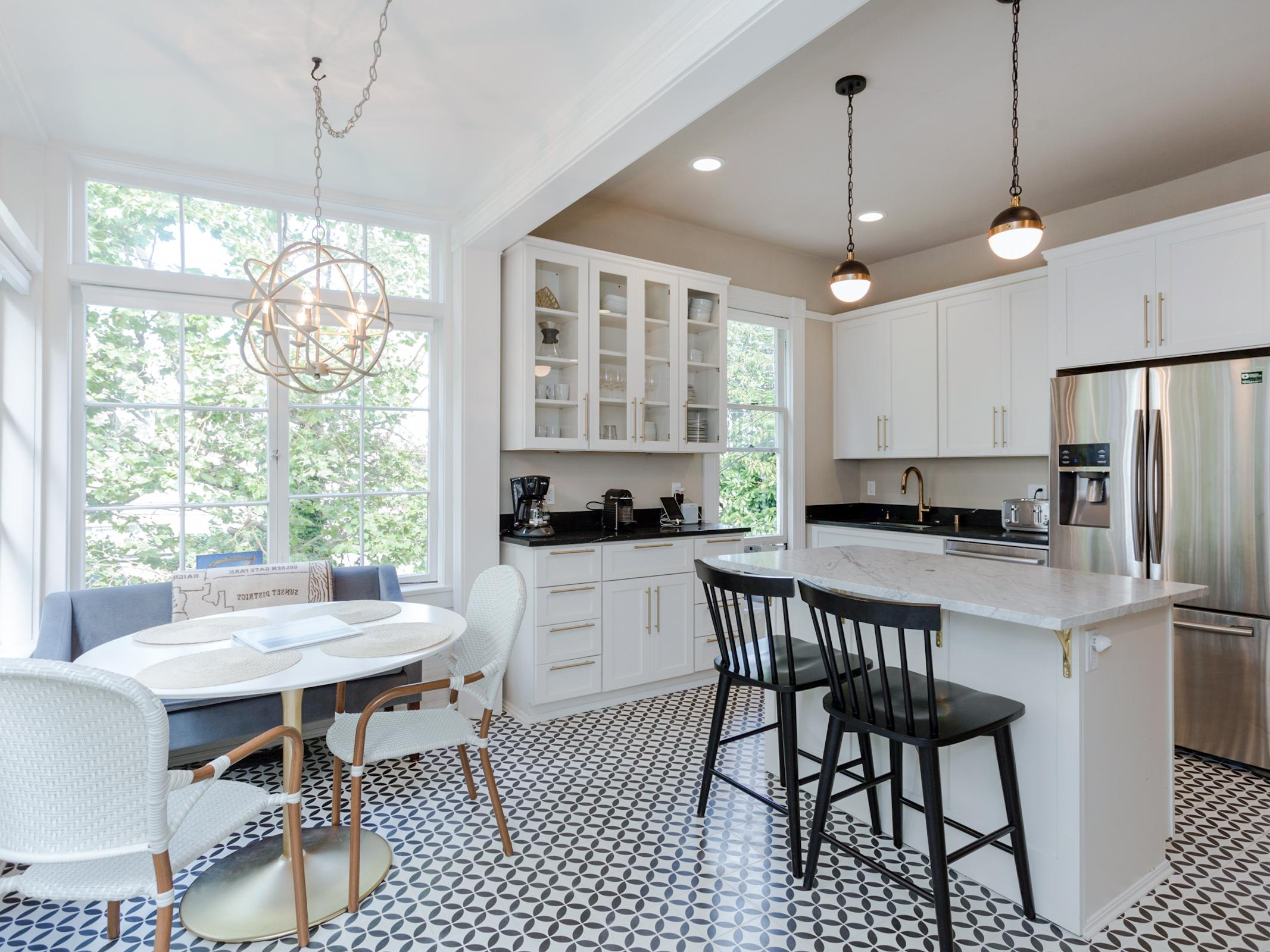 The open kitchen and breakfast nook offers a great flow for entertaining.