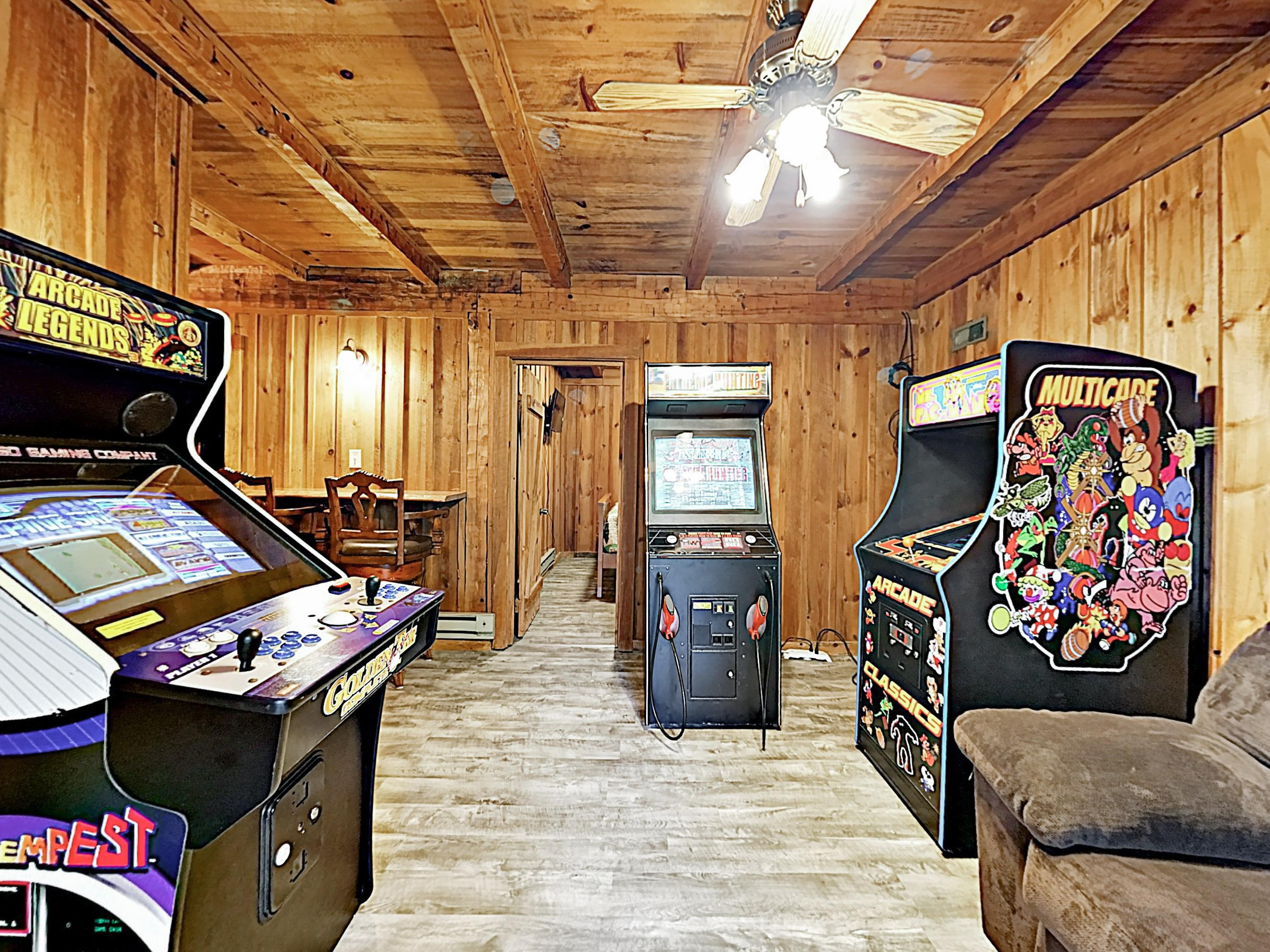 A game room on the lower level boasts 3 retro arcade machines.