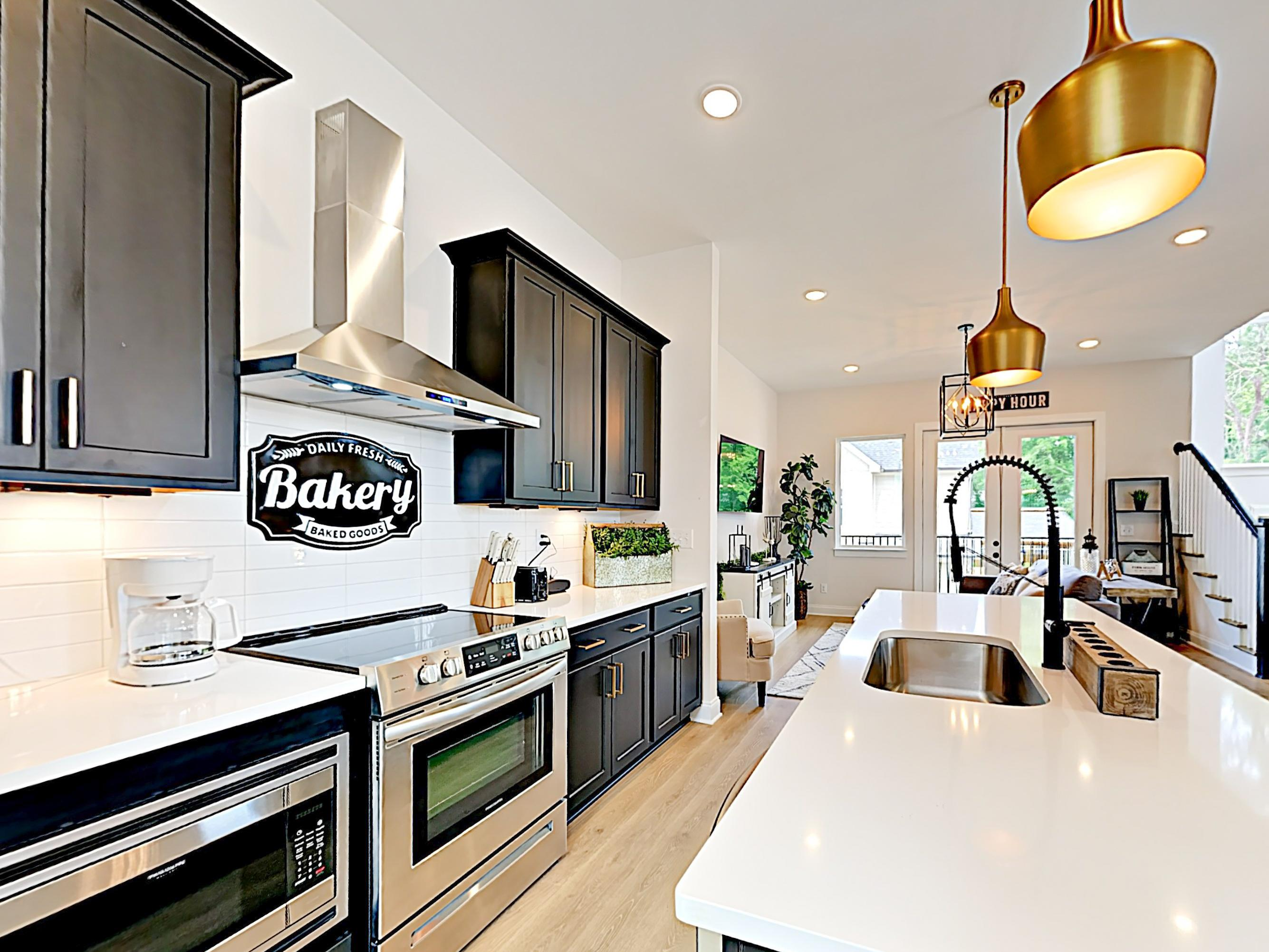 Aspiring home chefs will love the truly modern kitchen.