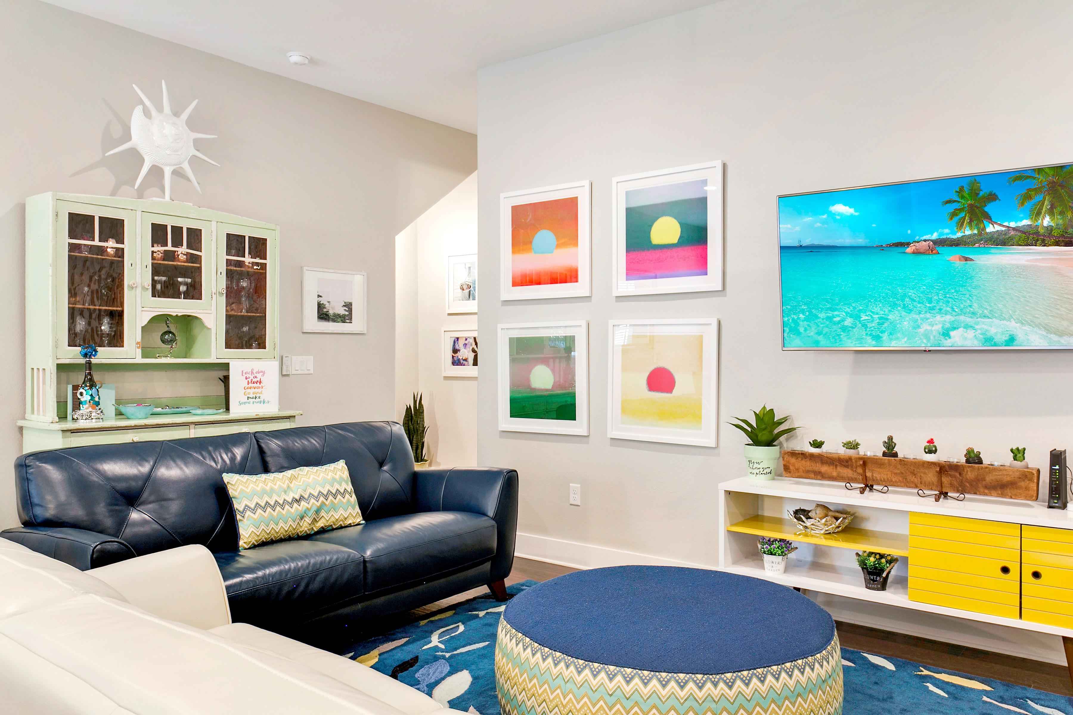 Beach-inspired decor adds to the charm of this rental.