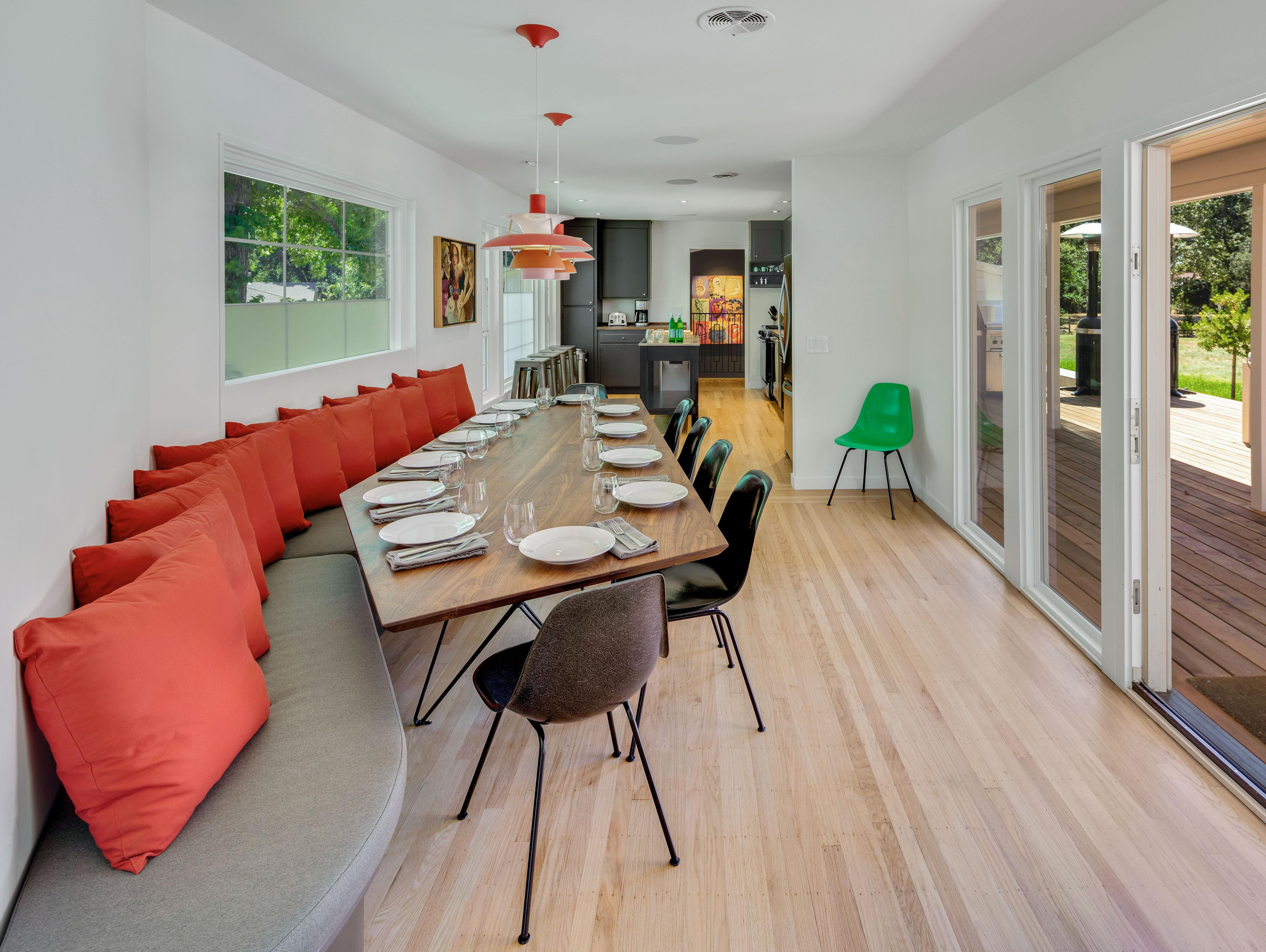 When you're ready to eat, savor family-style meals at the custom-built 10-person dining table.