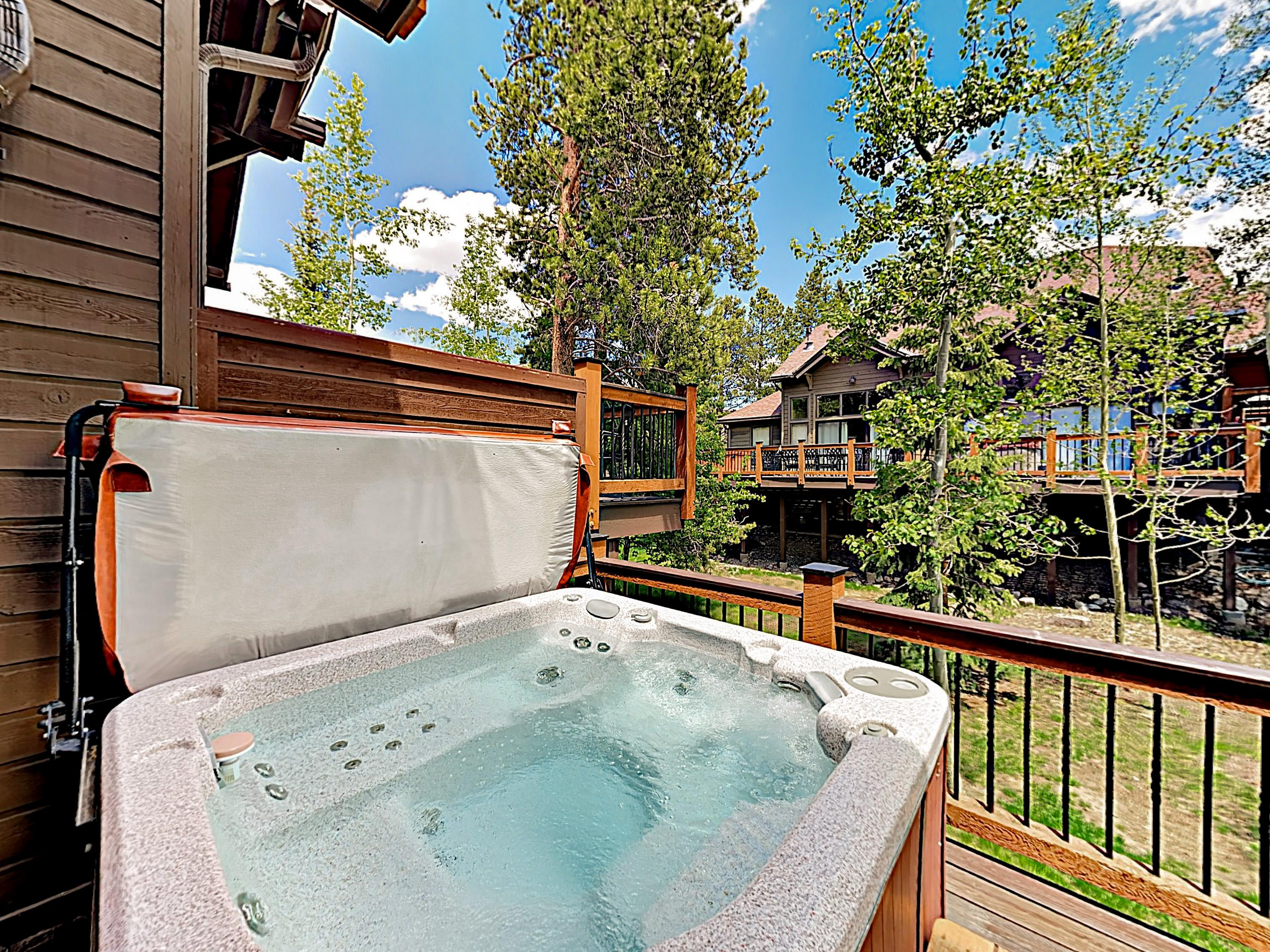Unwind after a day of fun in the private hot tub on the porch.