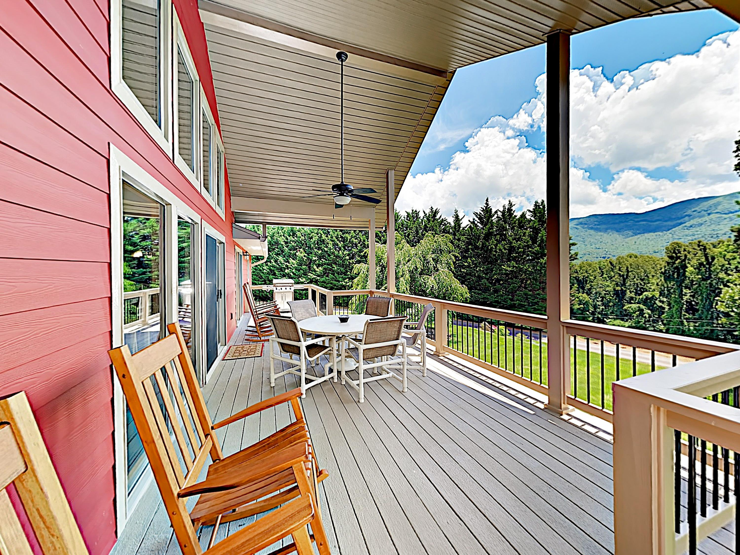 Take in views of the Blue Ridge Mountains from your expansive covered deck.