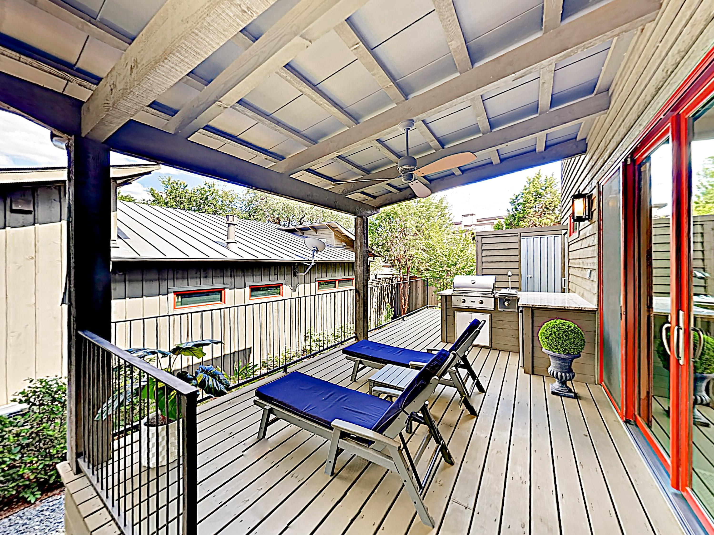 Curl up with a book on the deck, furnished with 2 loungers.
