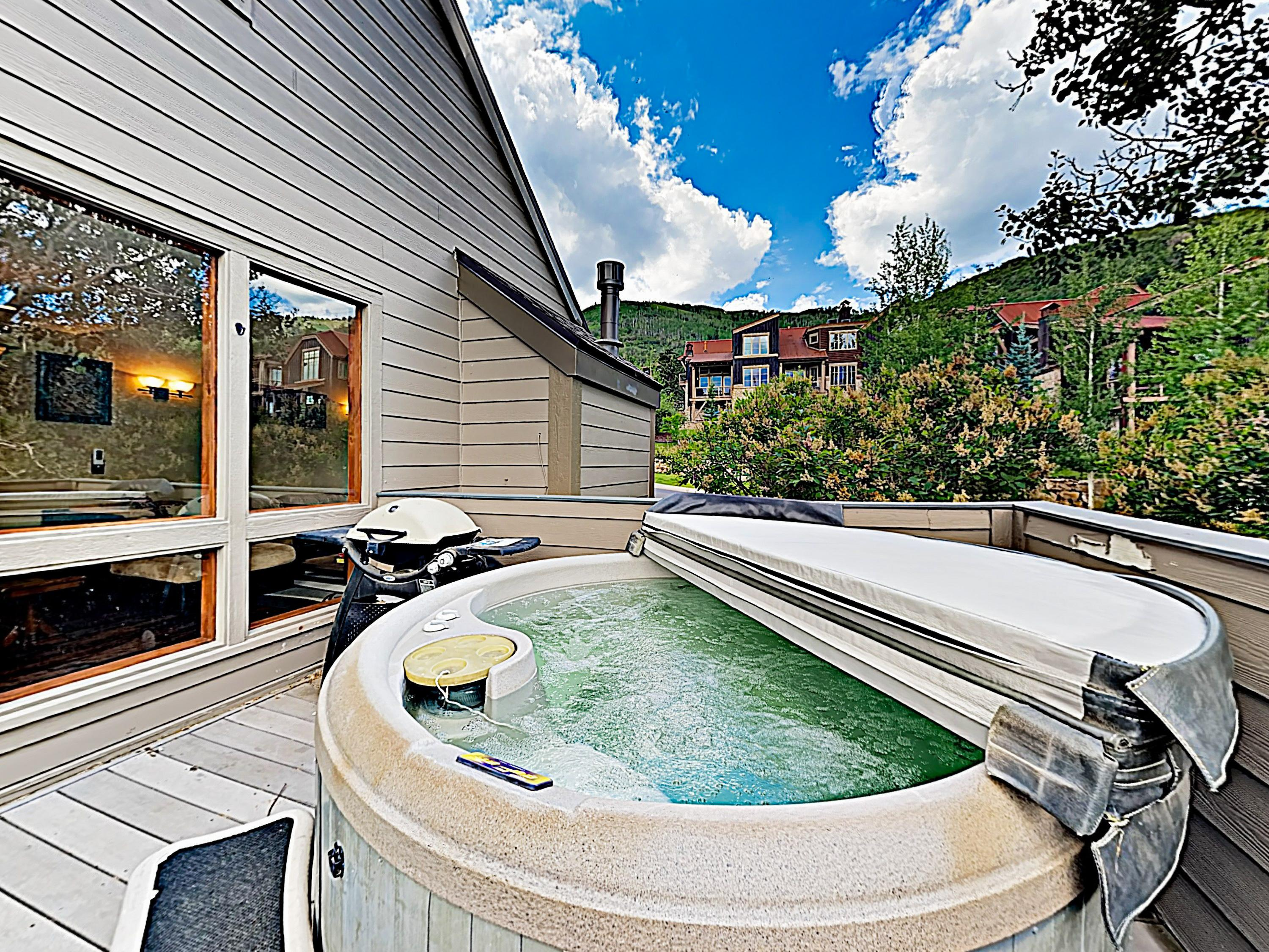 Treat yourself to a restorative soak in the hot tub on the main-floor balcony.