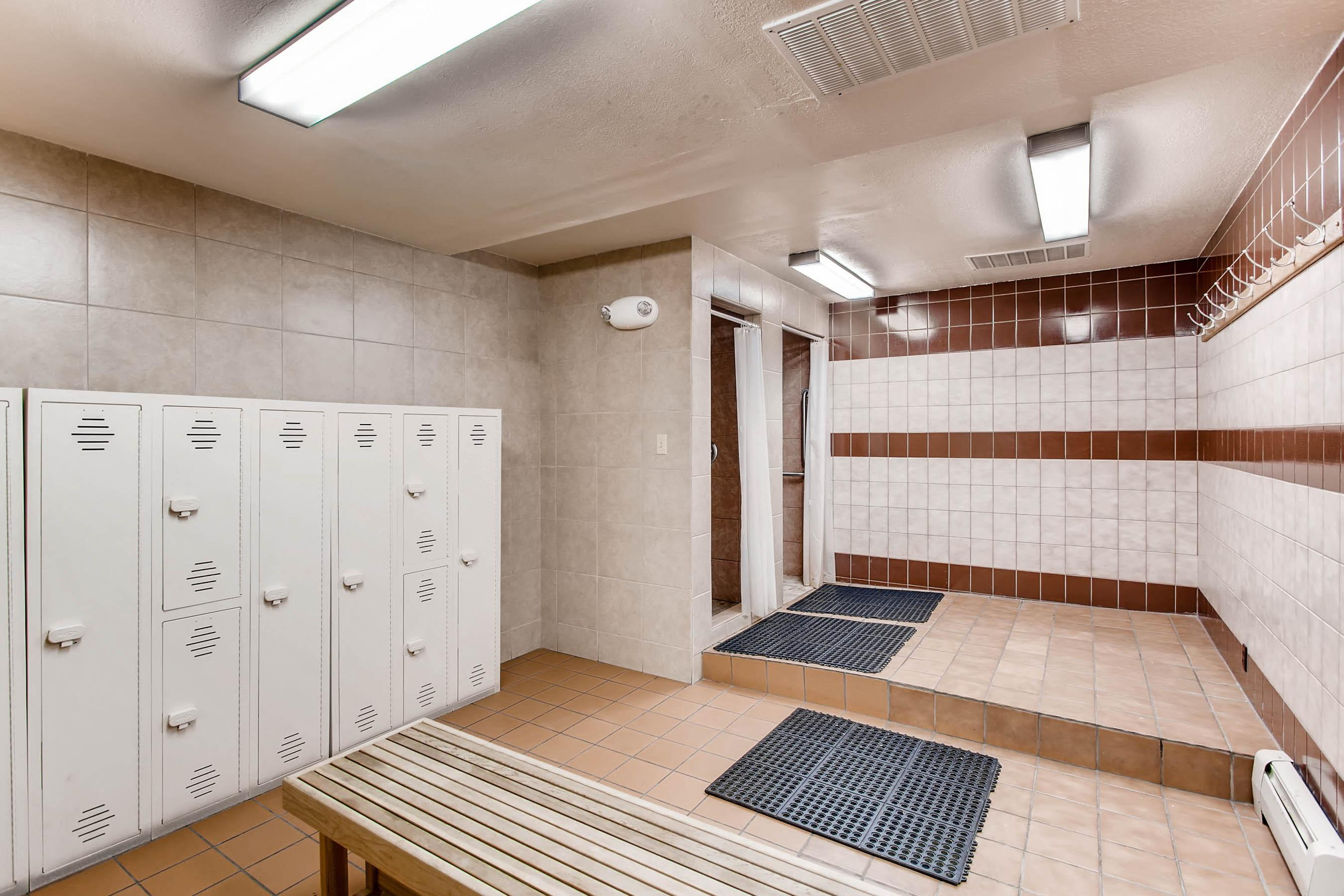 The clubhouse also features a convenient locker room.