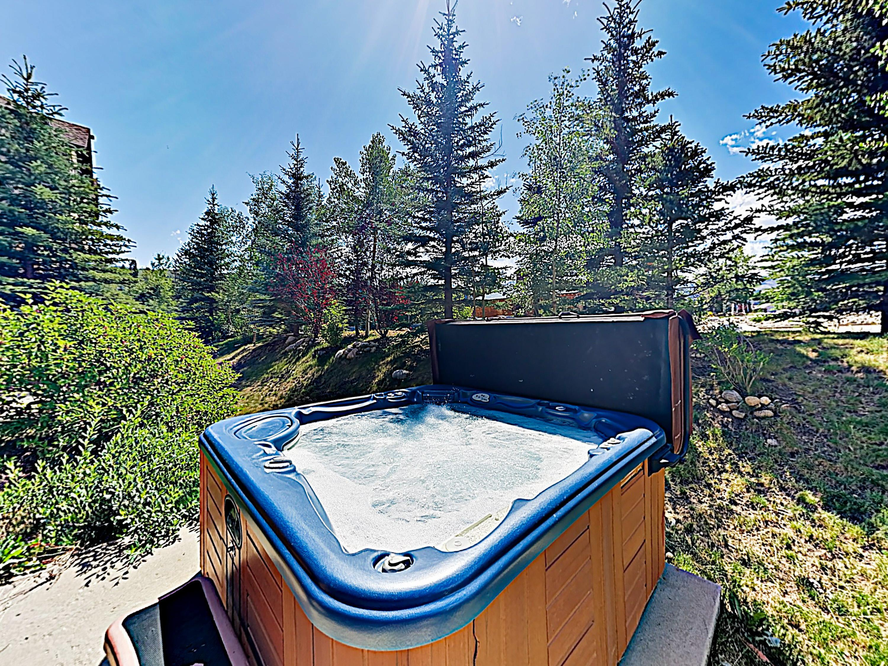 After days on the slopes, relax in the private hot tub.
