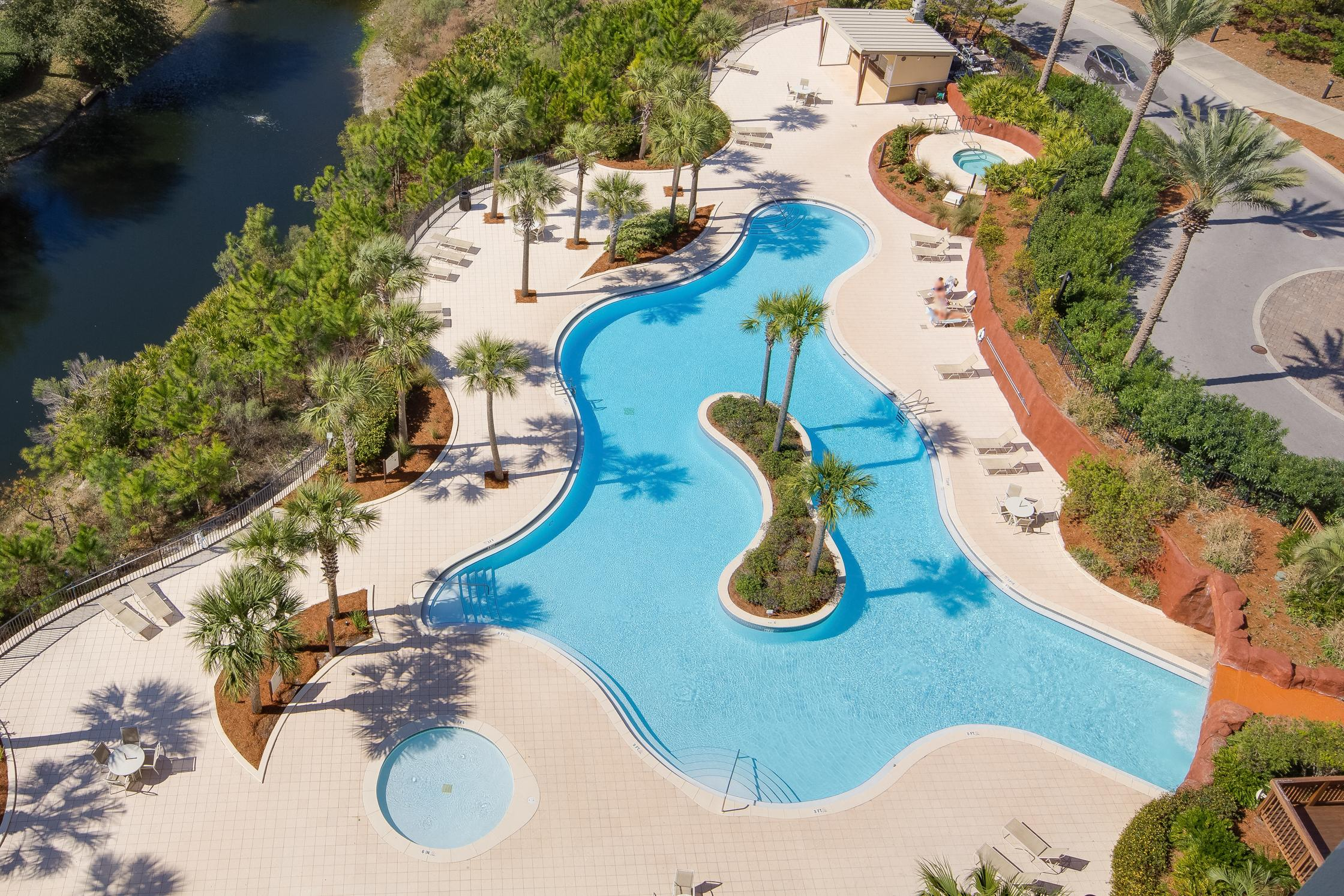 The immaculate grounds feature numerous resort-style pools.