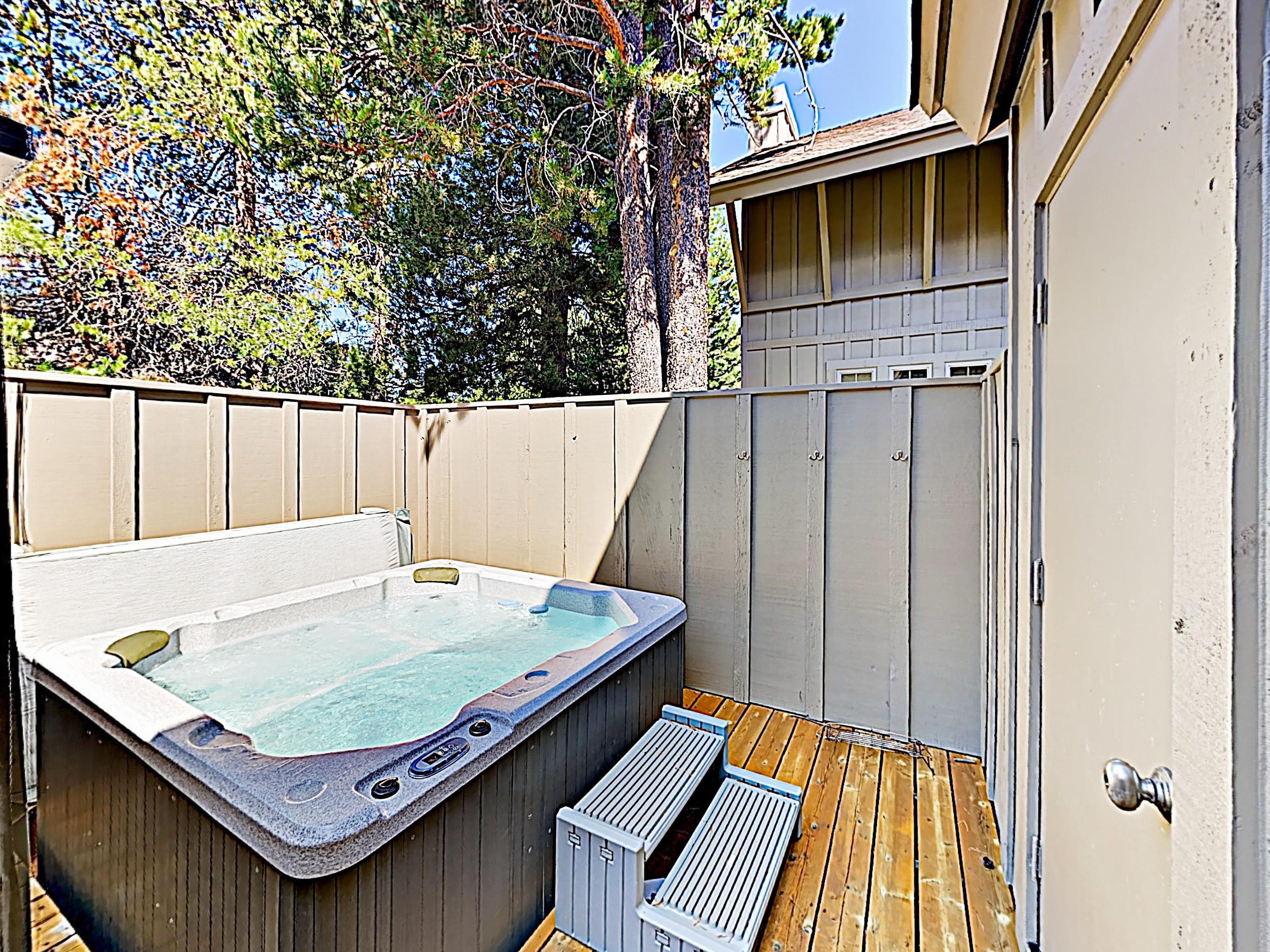 After an exciting day exploring Sunriver, relax your muscles in the private hot tub.