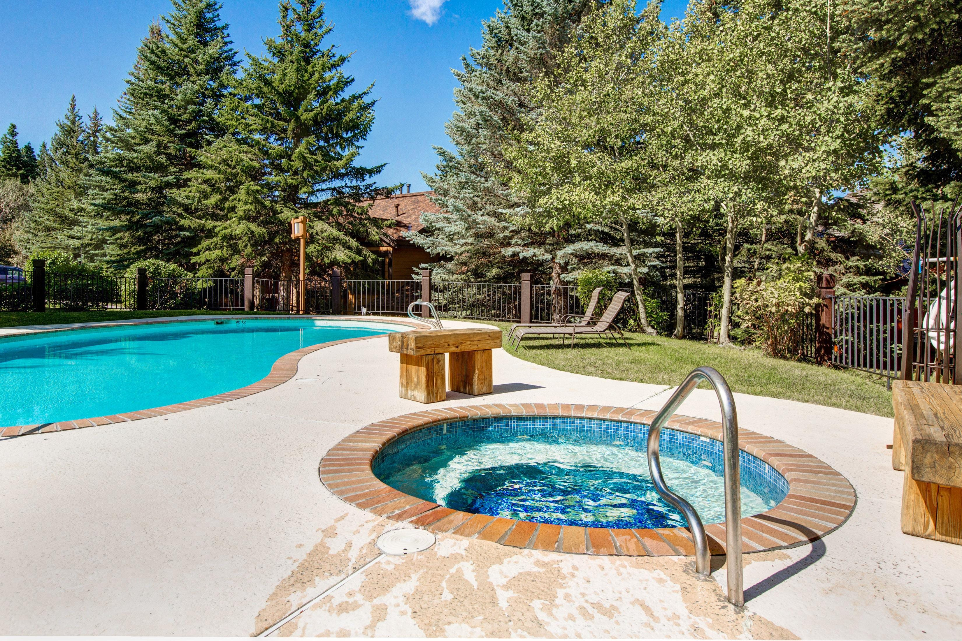 The shared seasonal pool and hot tub are a short walk from your door.