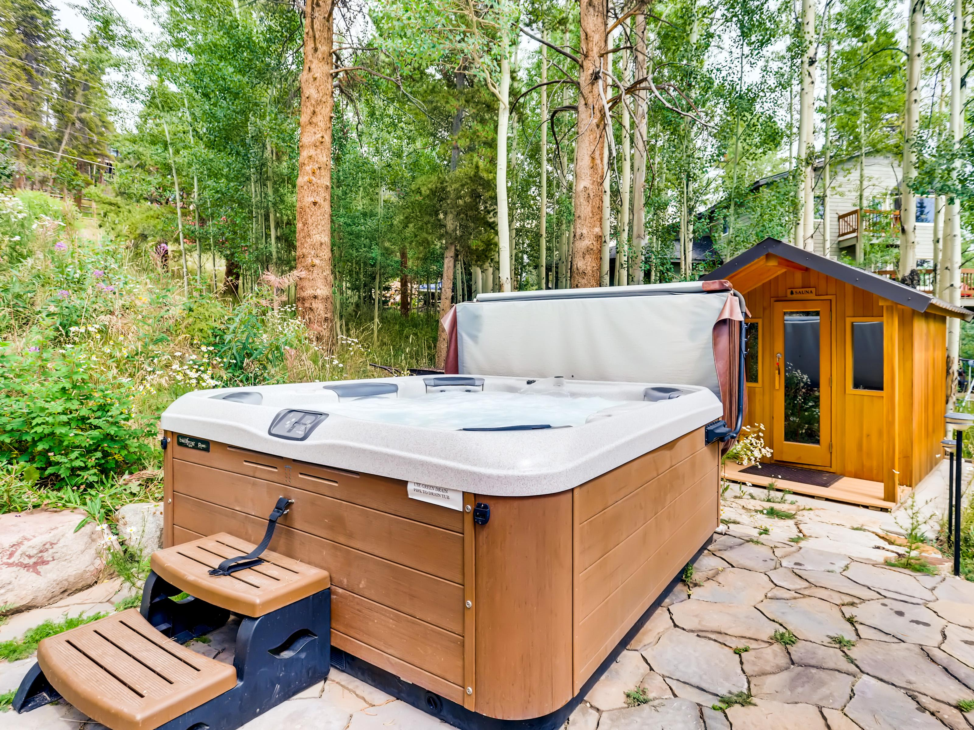 Relax and restore beneath the stars in your private backyard hot tub.