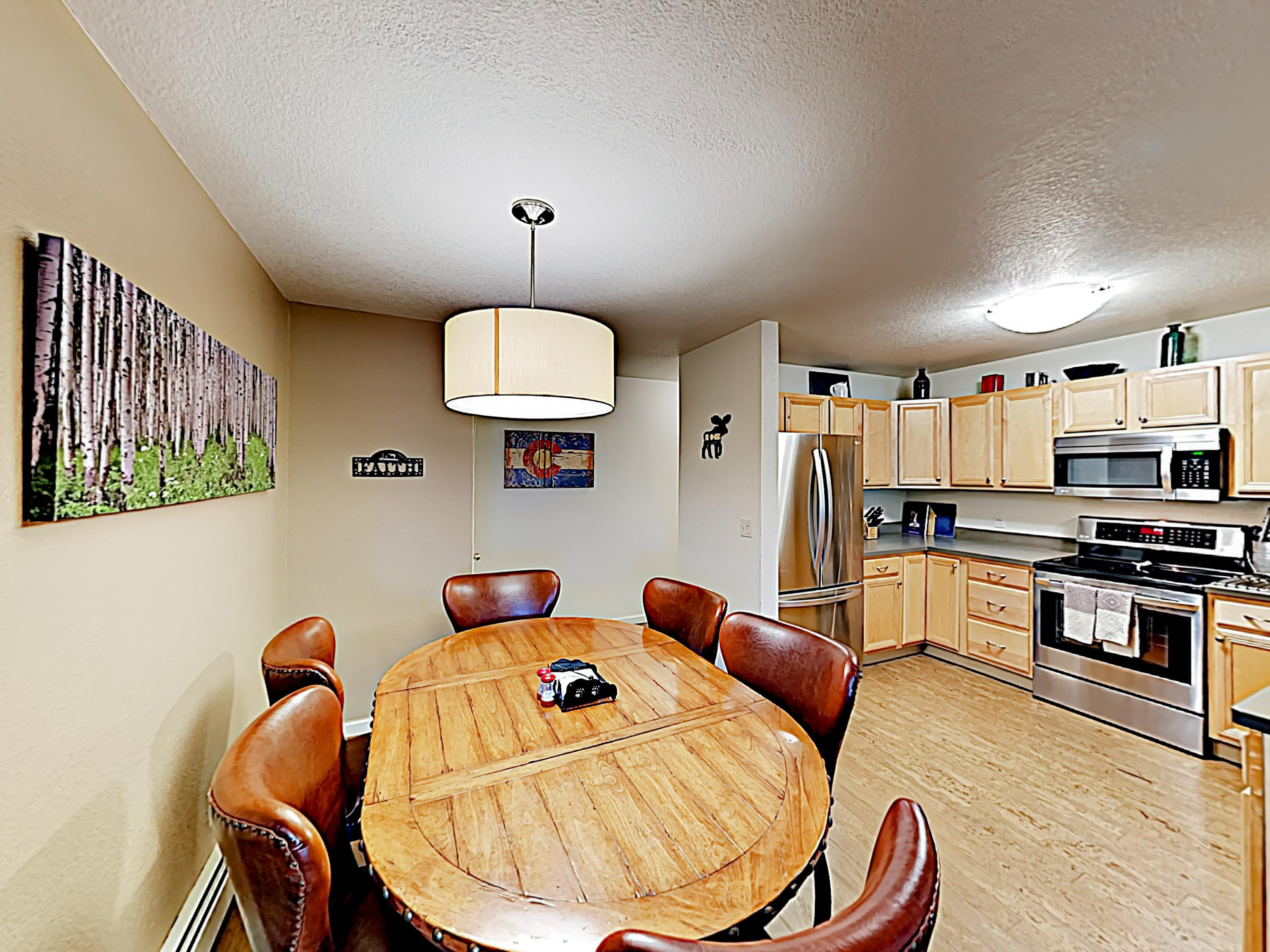 A formal dining area accommodates 6.