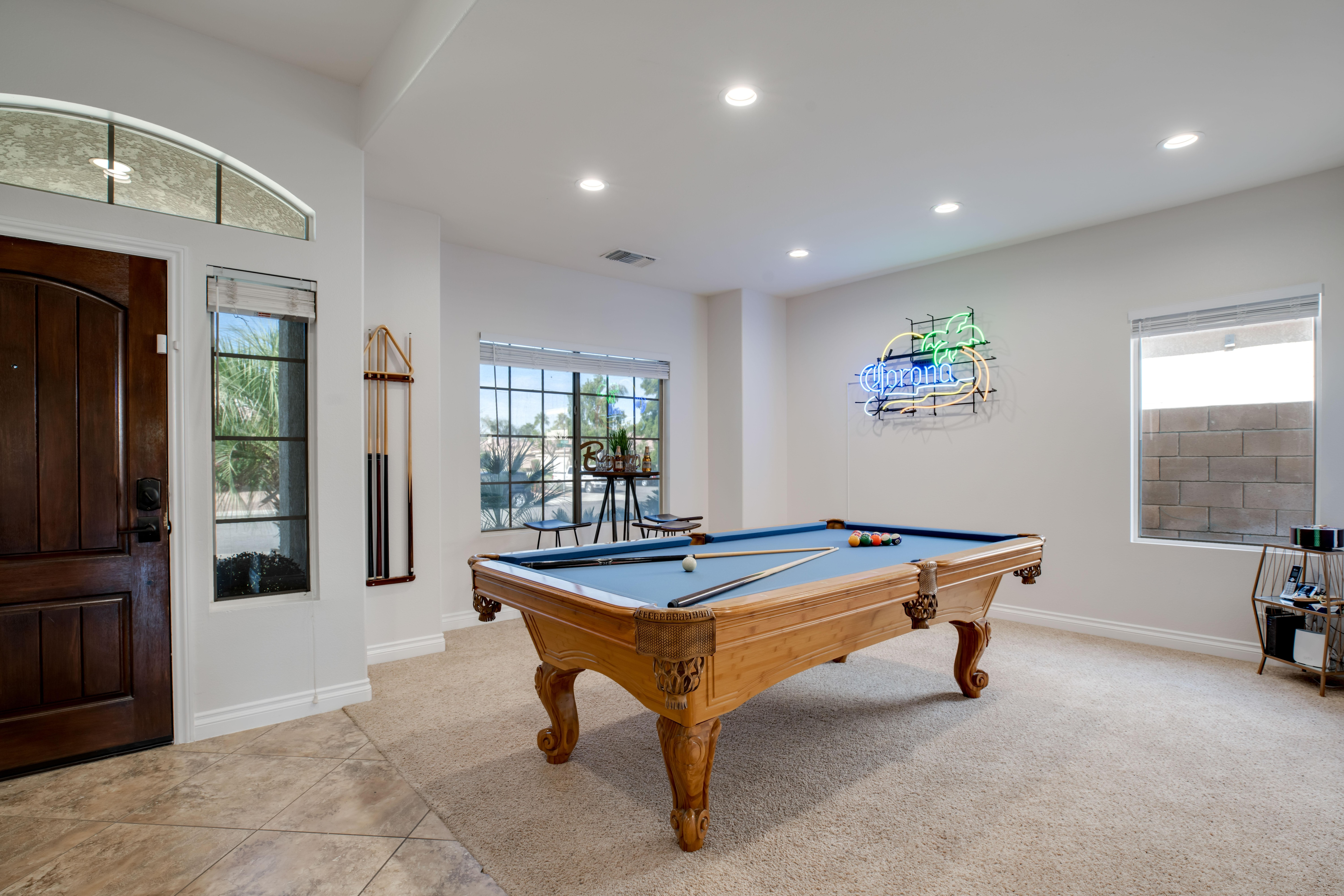This home features a game room with a pool table.