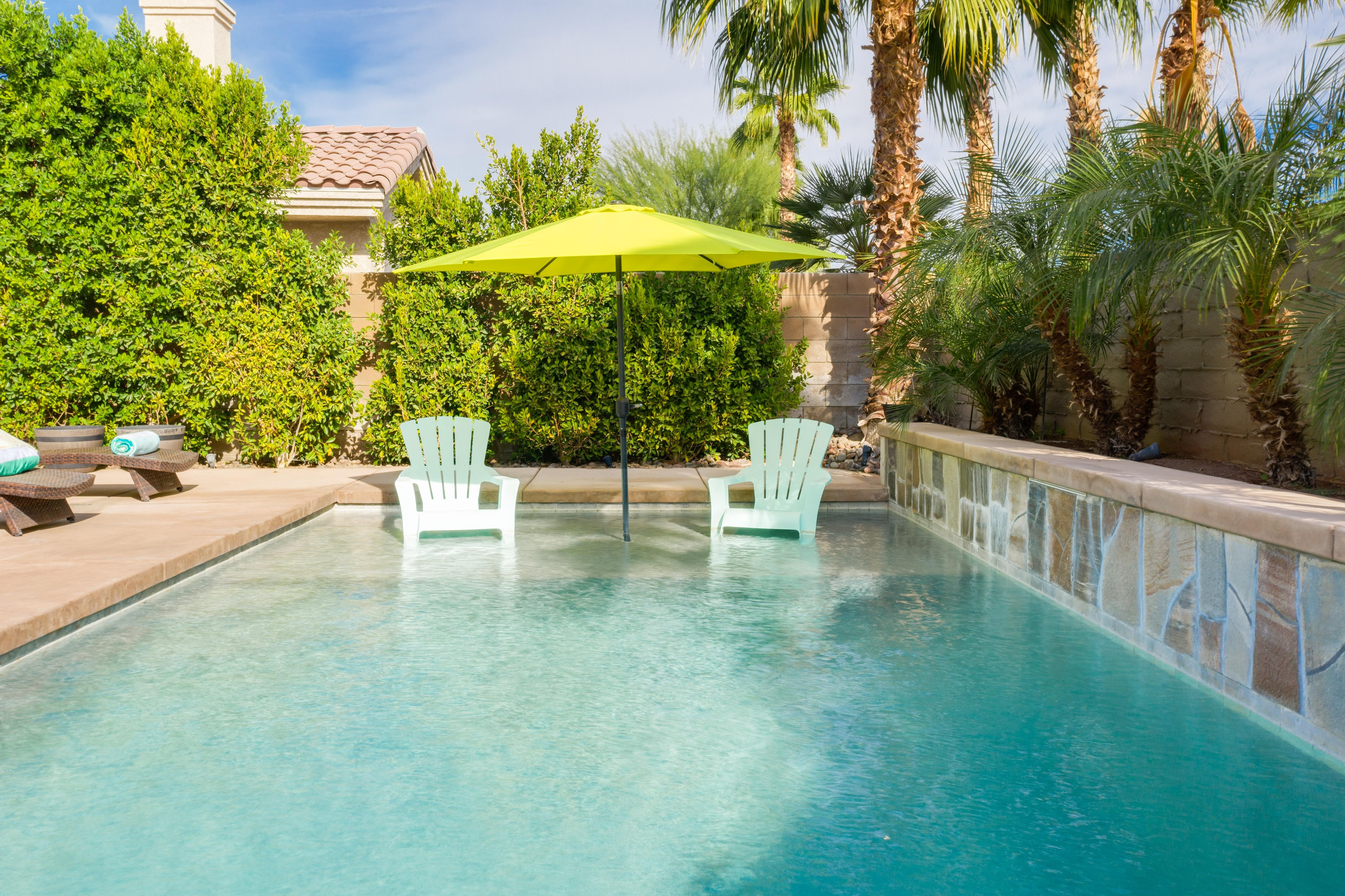 Take a relaxing dip in the 7'-deep heated pool with shallow entry.