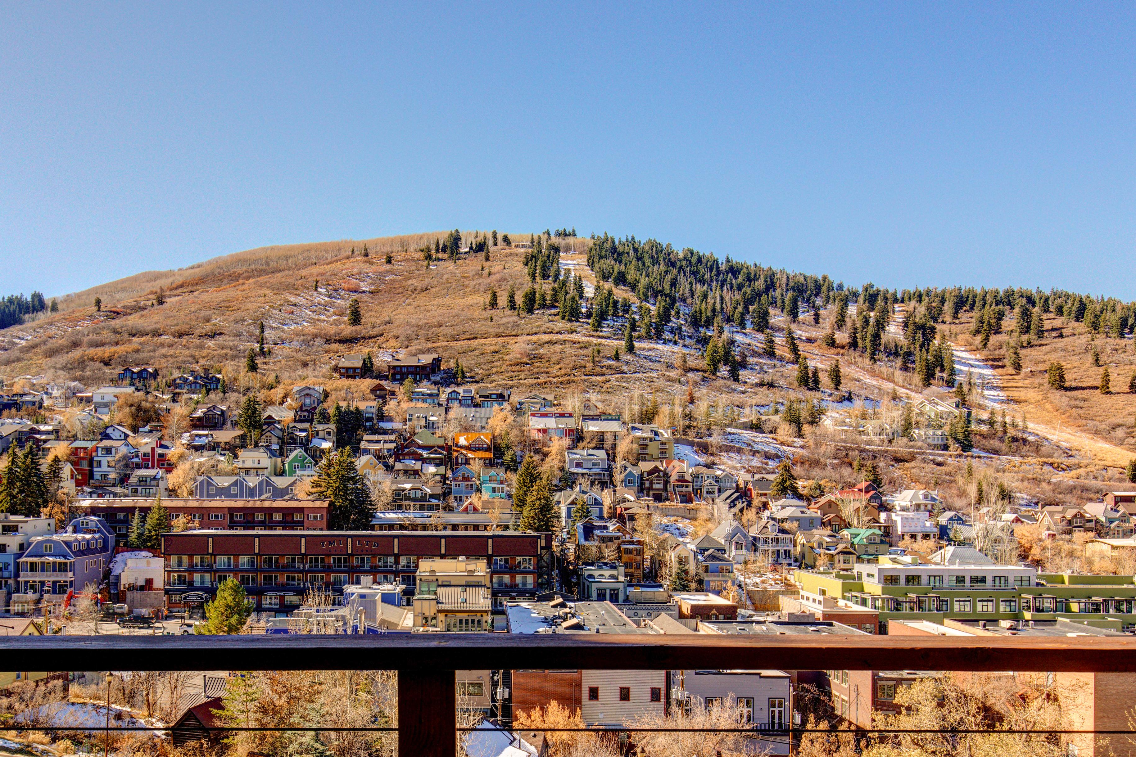 The main balcony overlooks the mountains and downtown Park City.