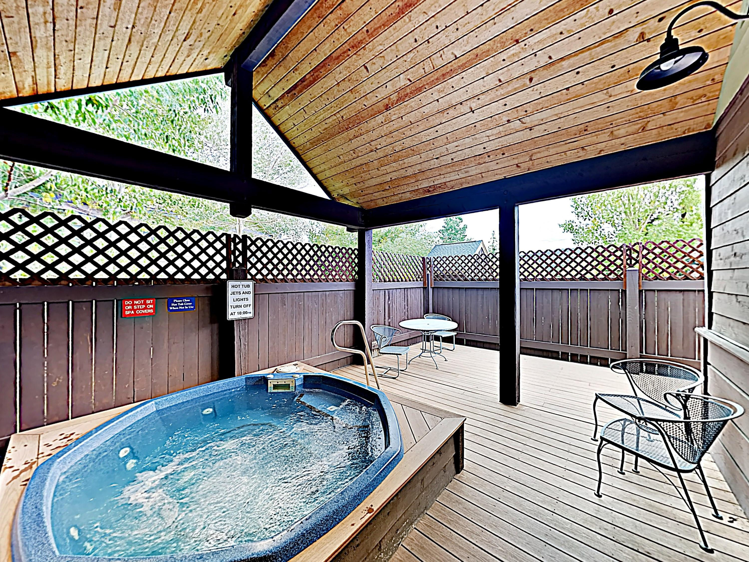 Take a relaxing soak in the shared hot tub.