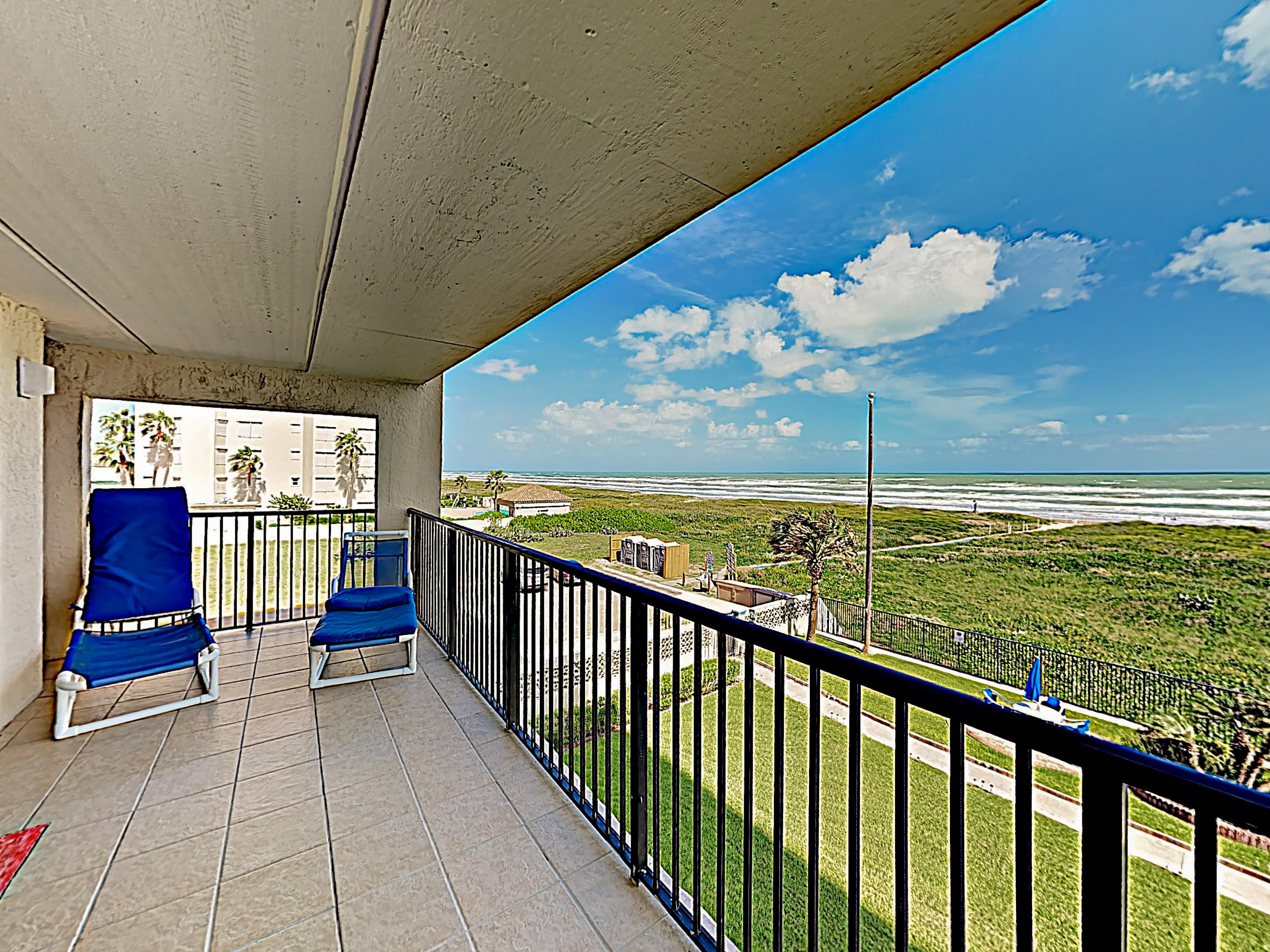 Take in picturesque Gulf views from the corner-unit balcony.