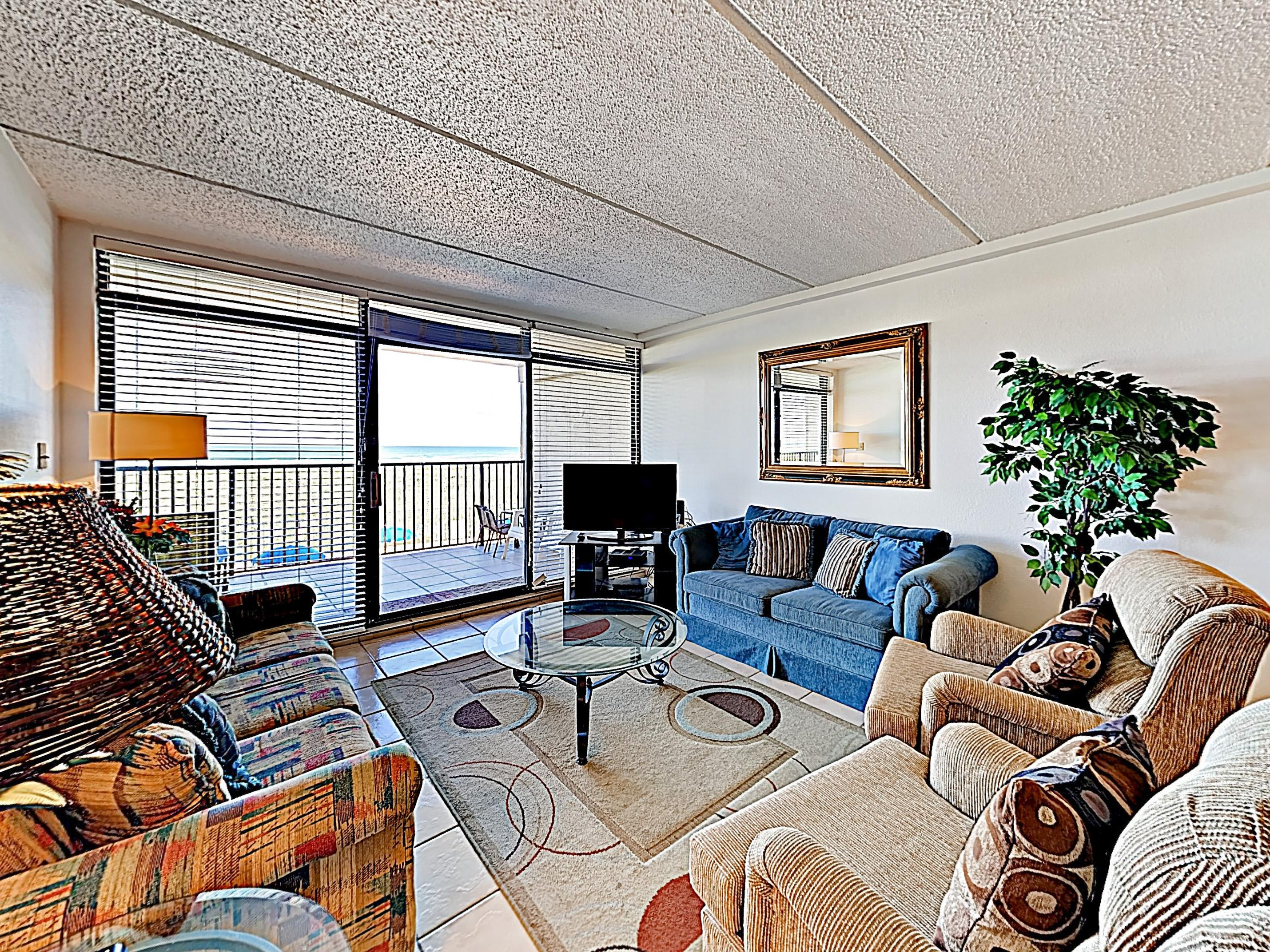 "Relax on the sofa, love seat, or two recliners and watch a movie on the 42"" flat-screen TV with DVD in the living area."