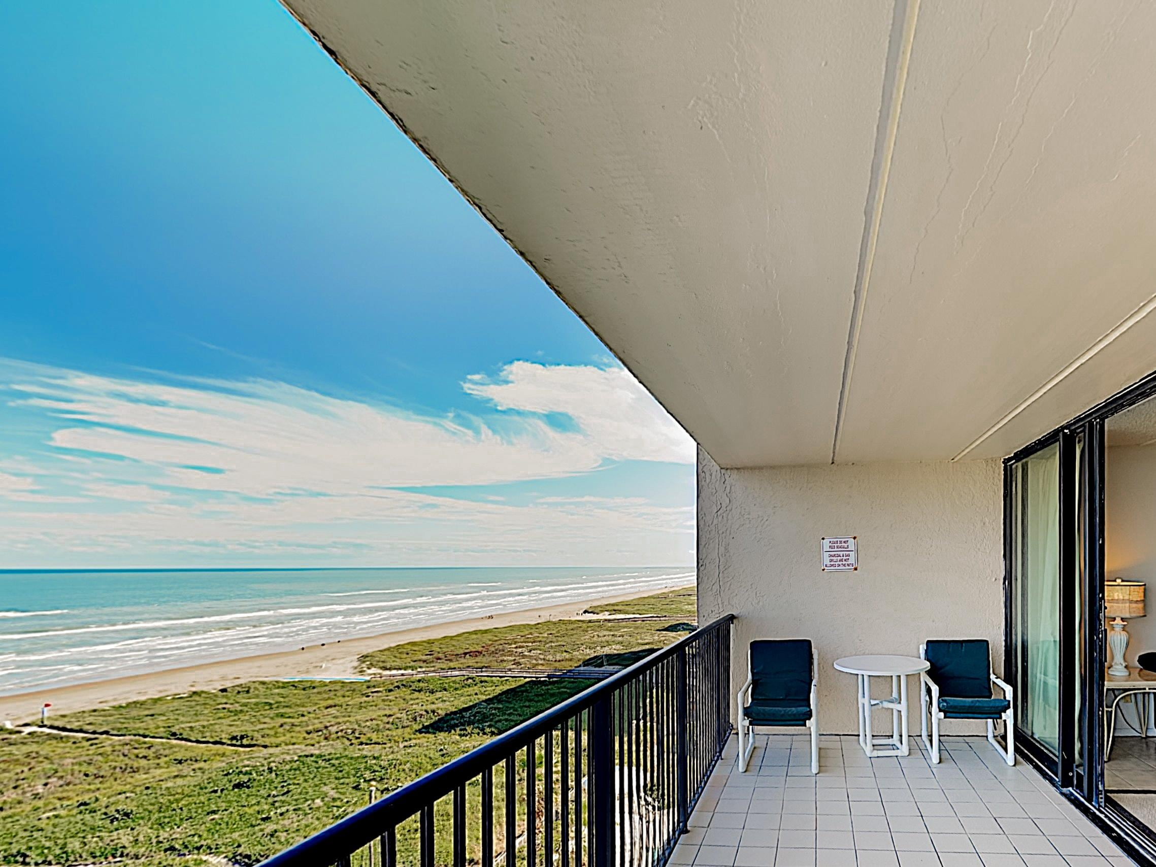 Take in breathtaking Gulf views from the large private balcony.