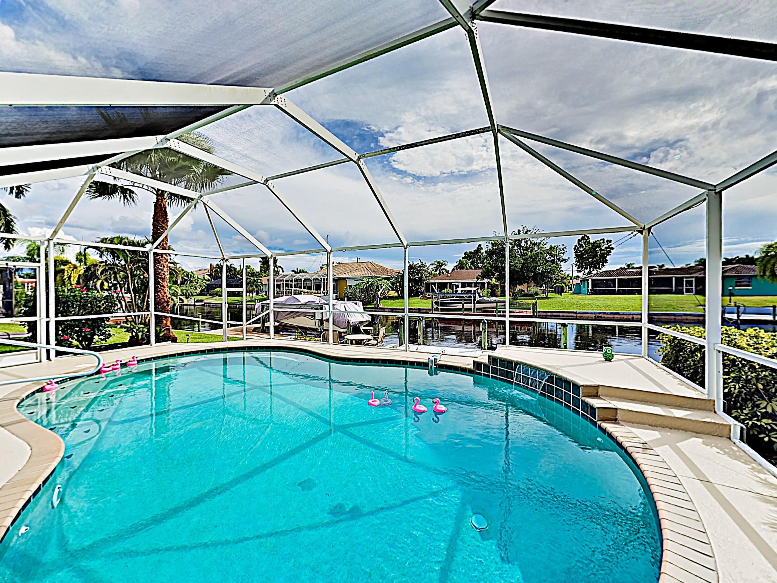 The screened heated pool can be enjoyed year-round!