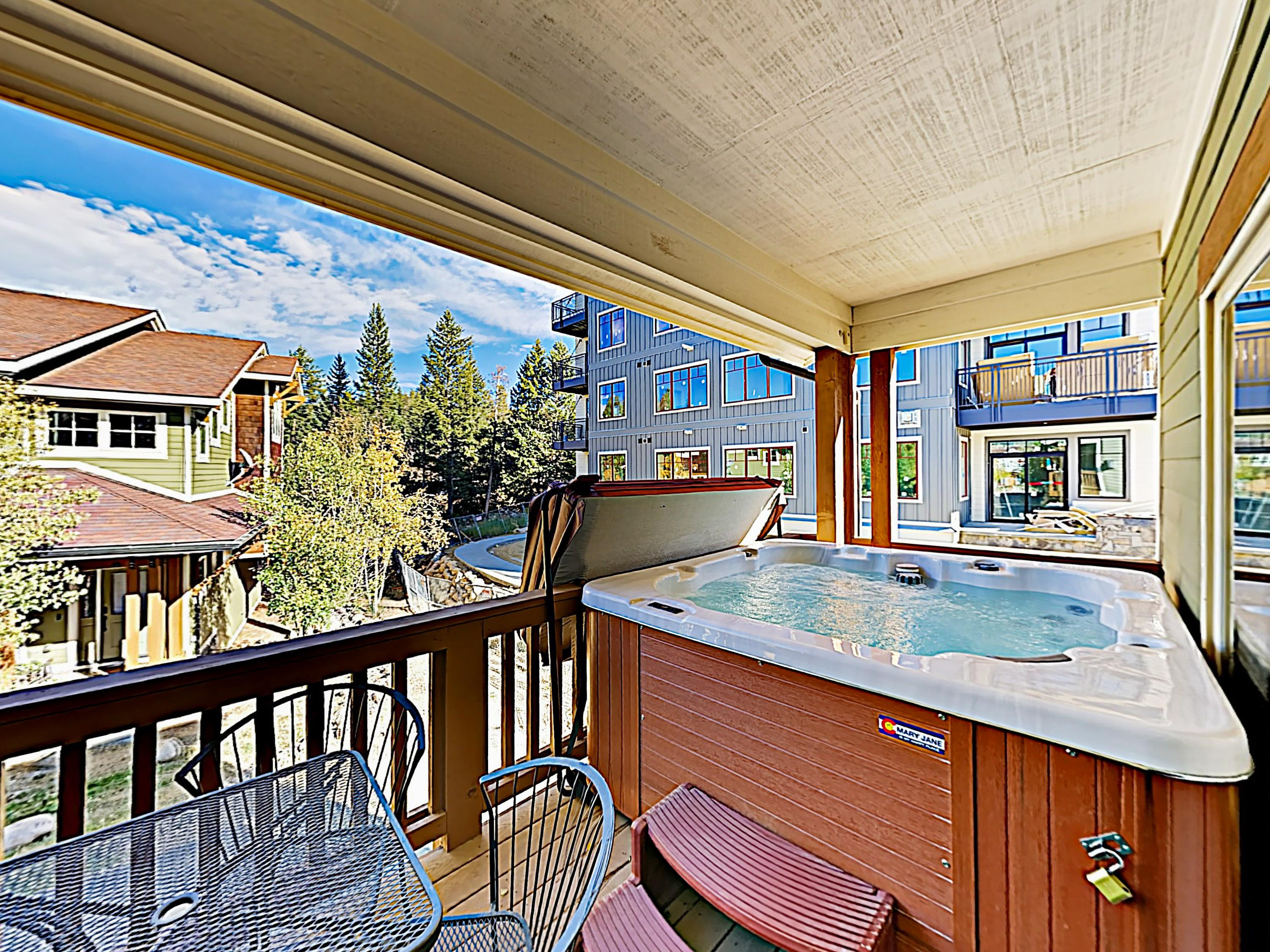 After days on the mountain, relax in your private 6-person hot tub on the balcony.