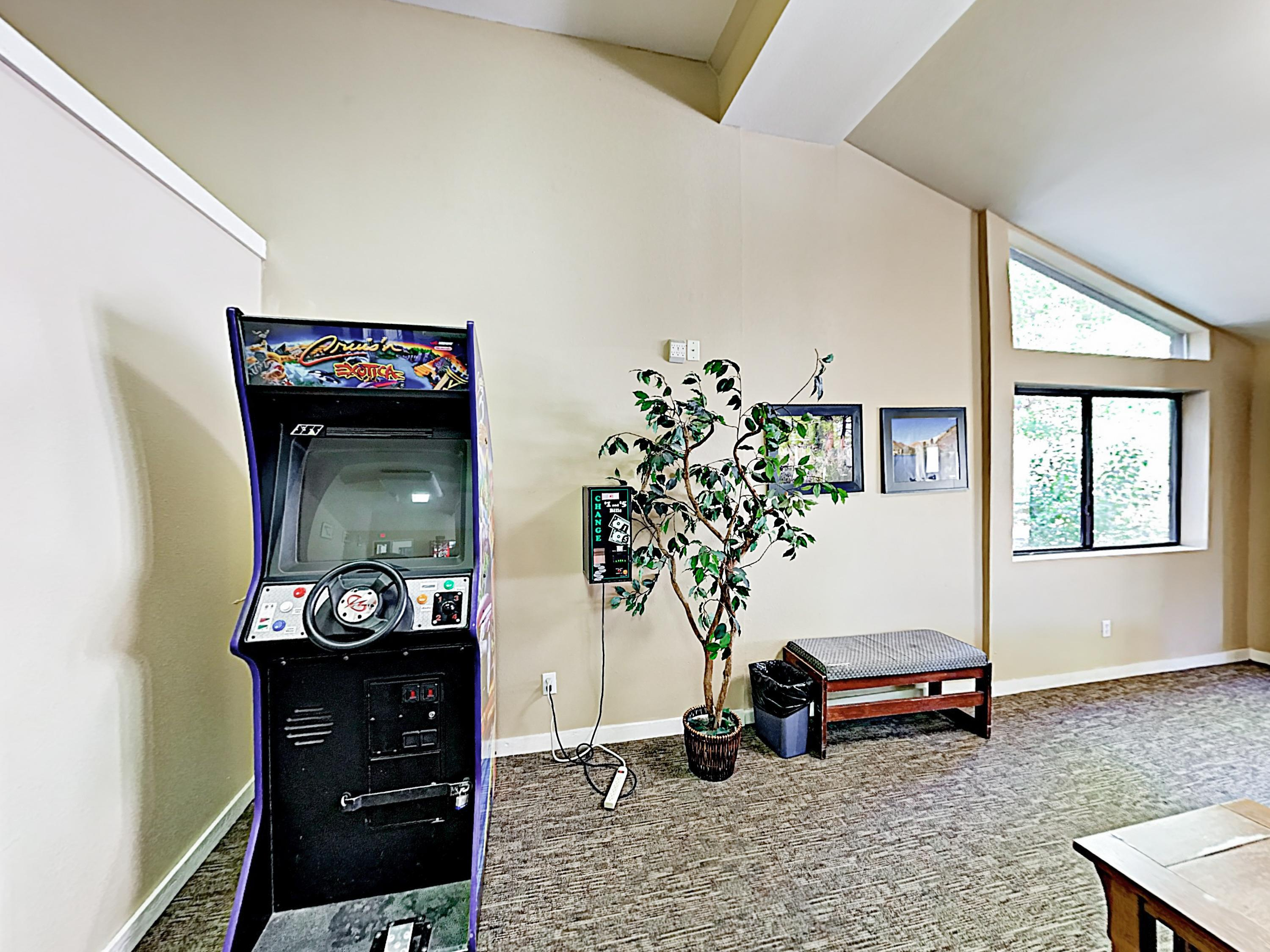 Play games in the on-site game room.