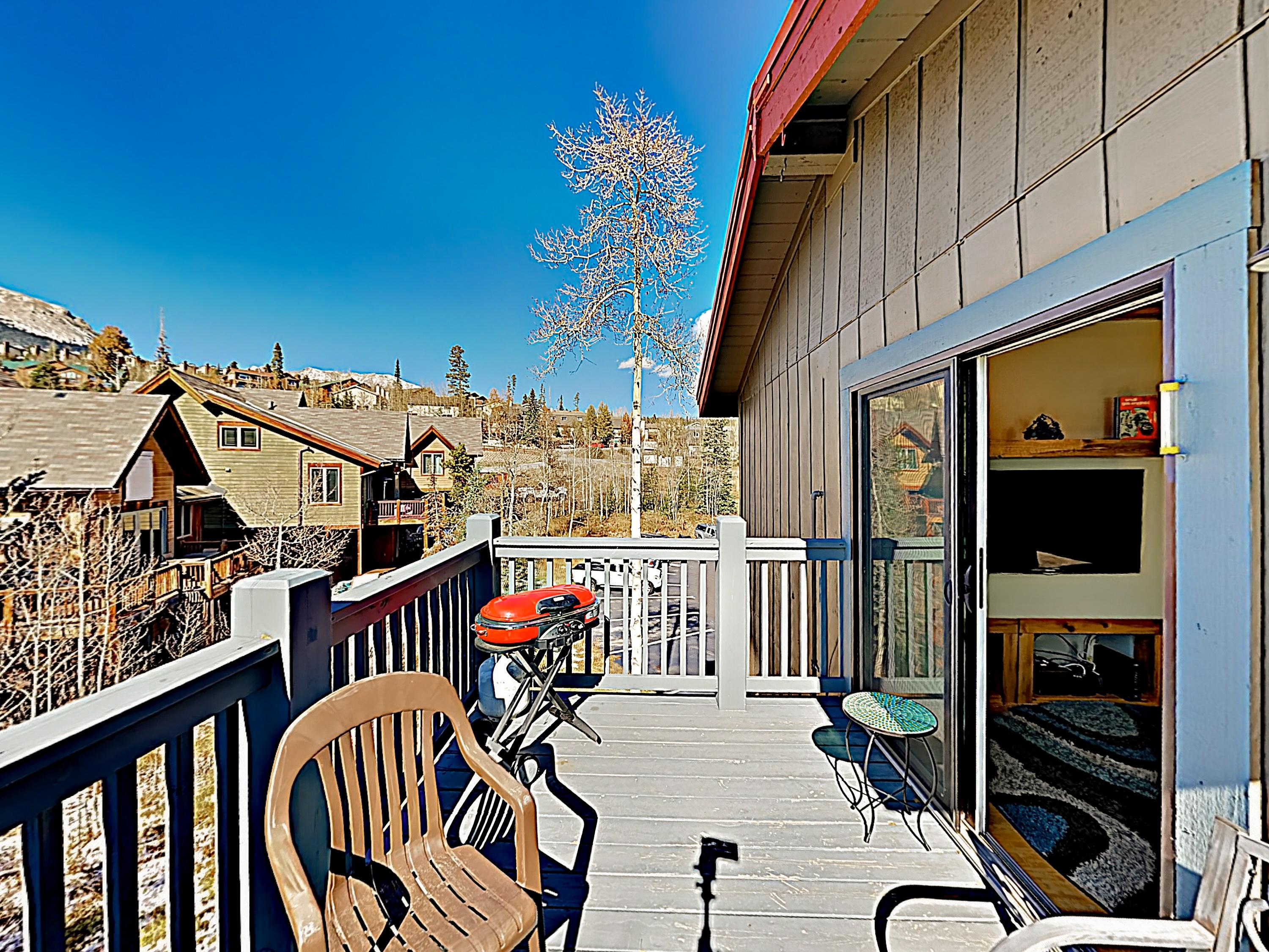 Enjoy the fresh mountain air on the balcony as you sizzle steaks and veggies on the gas grill.