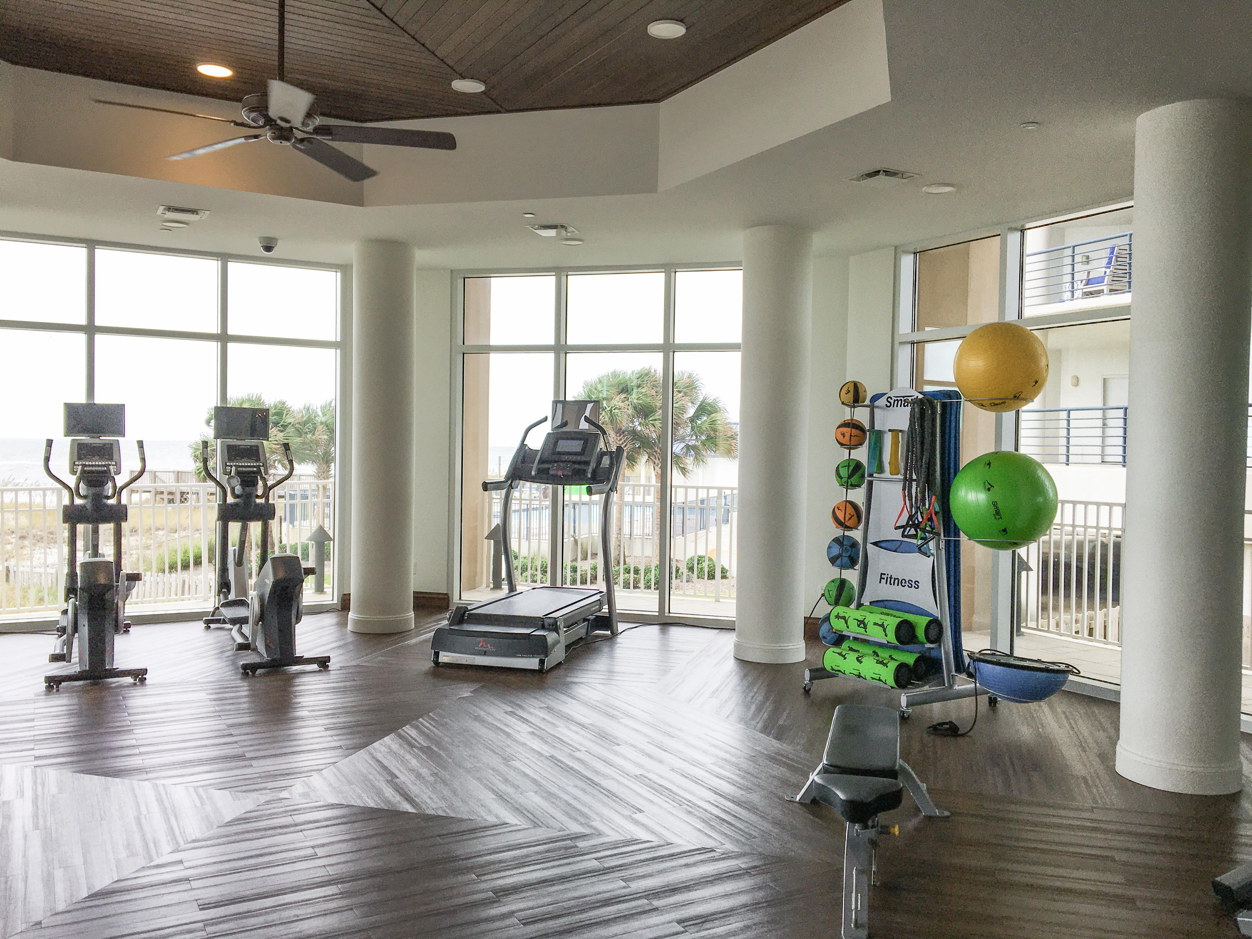 It's easy to stick to your fitness routine at the well-equipped gym.