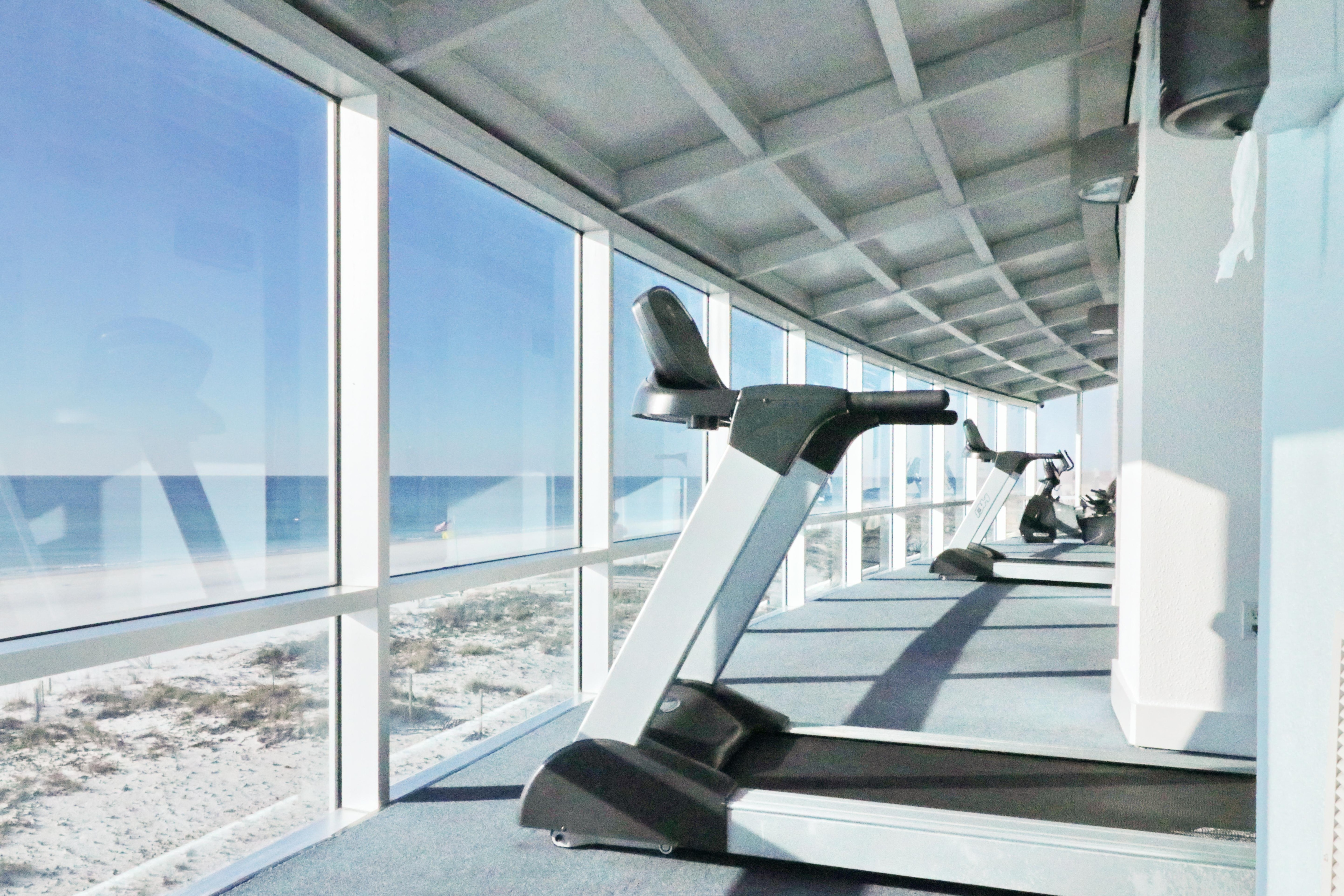 Workout with a view at the on-site fitness center.