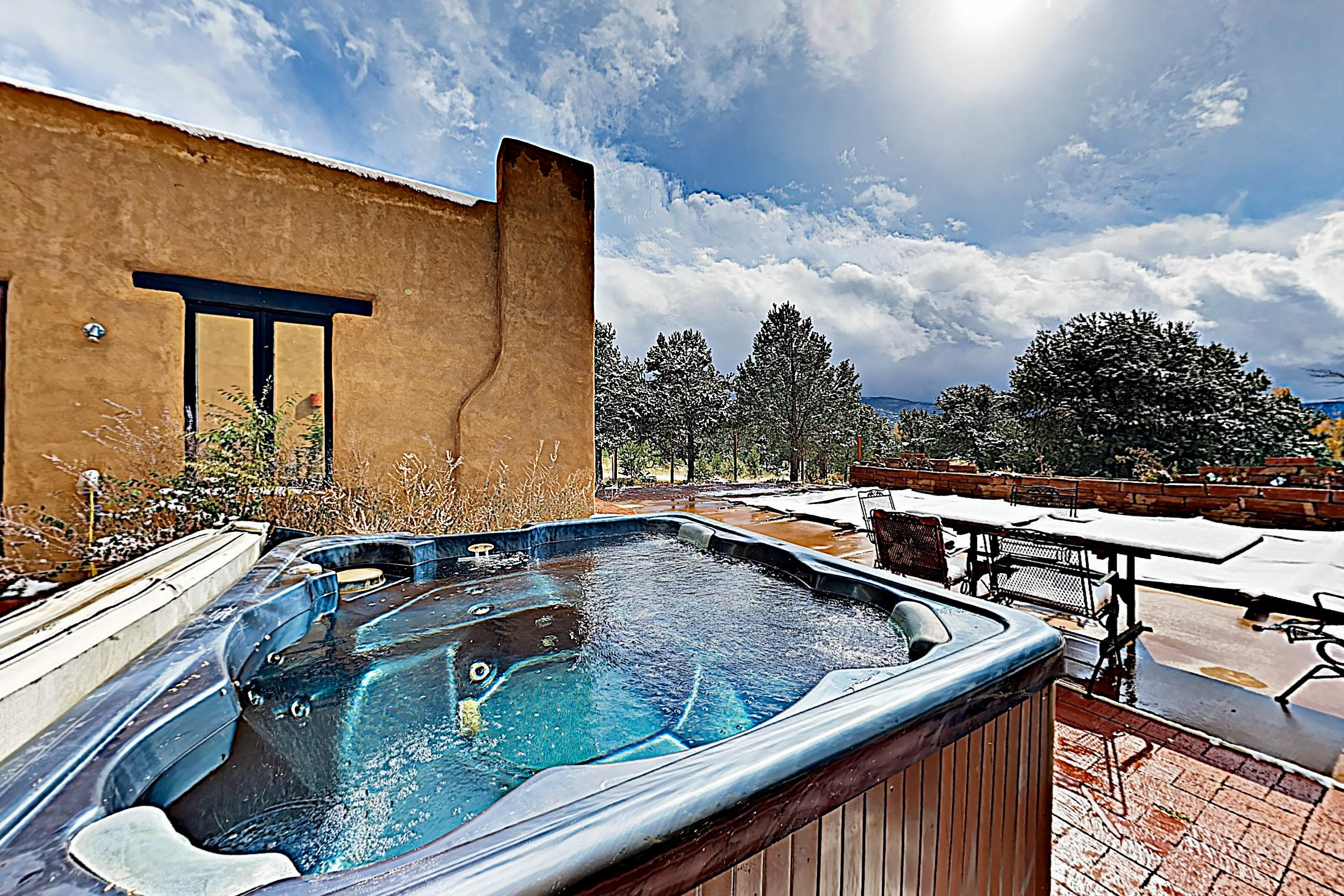Take in majestic mountain views while you soak in the all-season hot tub.