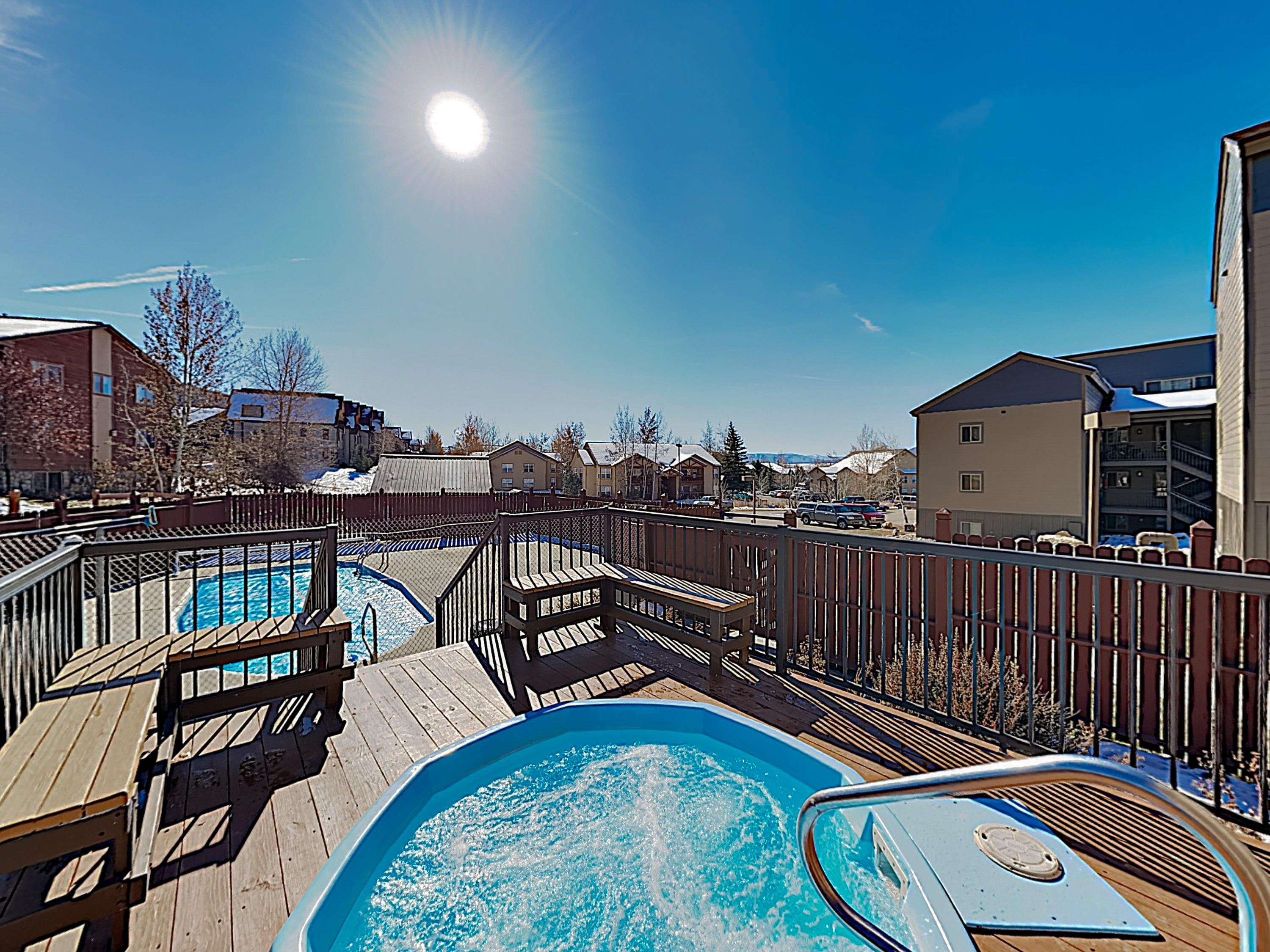 The hot tub (open year-round) and seasonal pool are steps from your door.