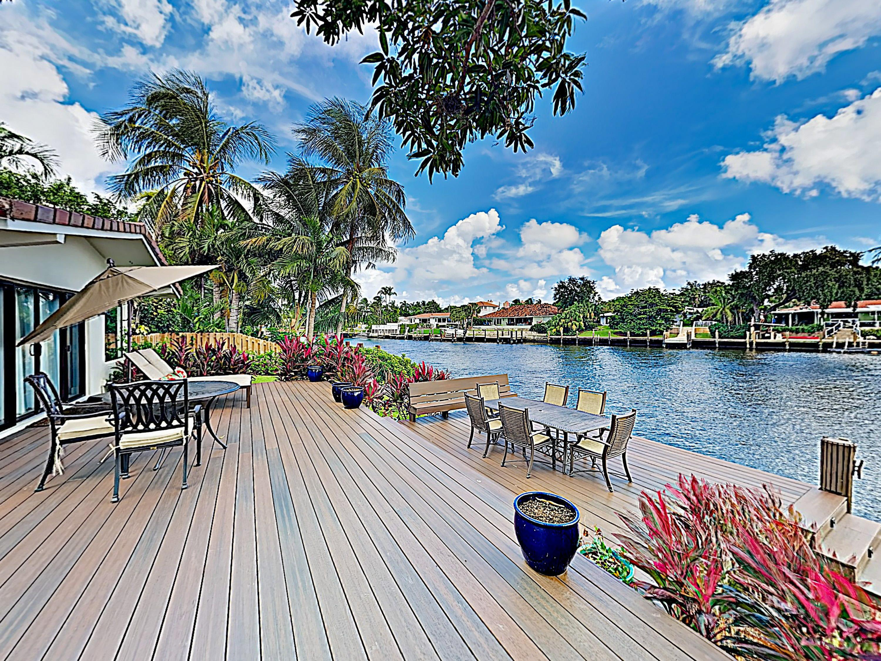 Take in beautiful views of the Las Olas Isles waterway while you relax poolside.