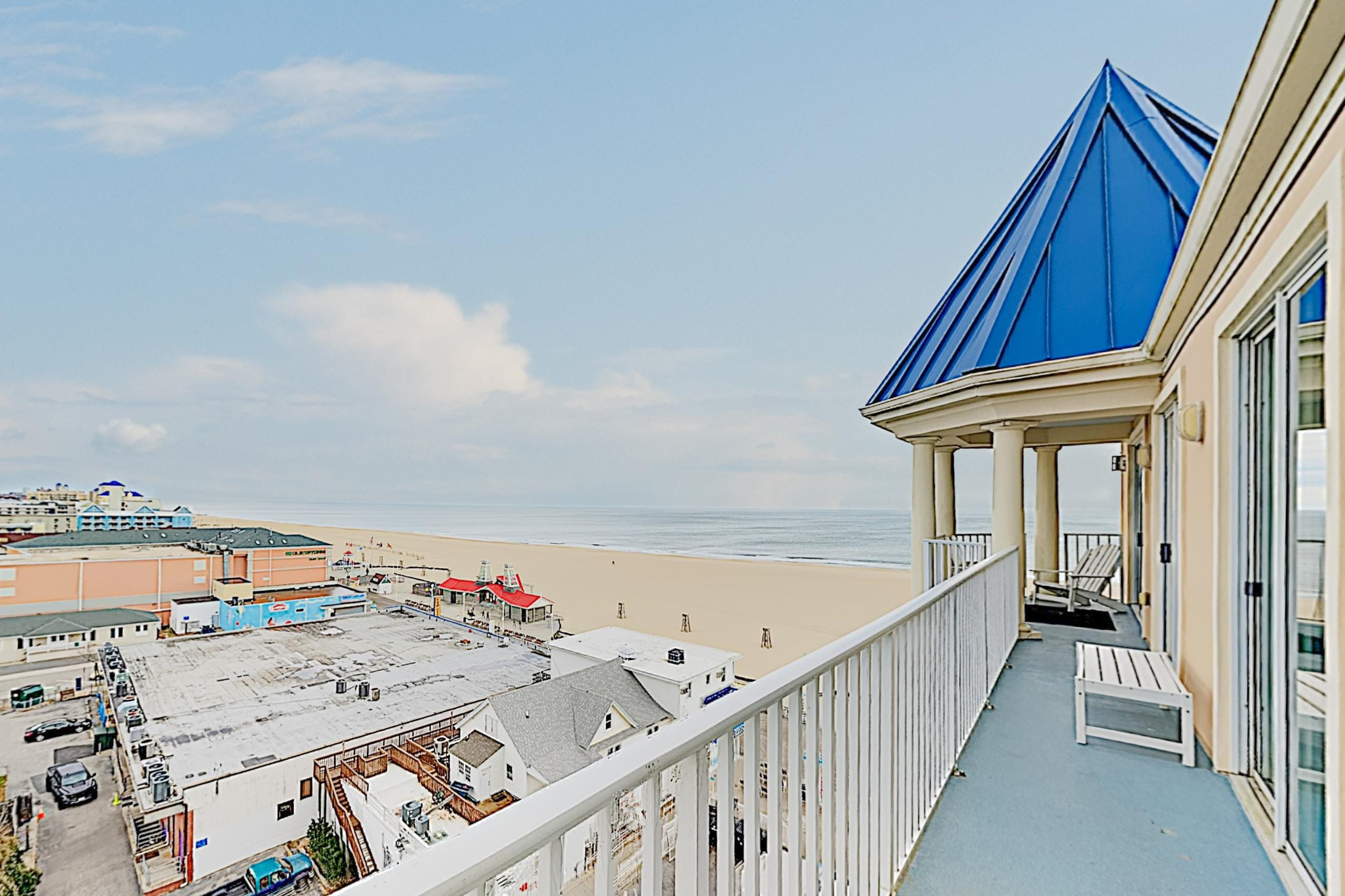 Your top-floor private balcony boasts panoramic views of Ocean City.