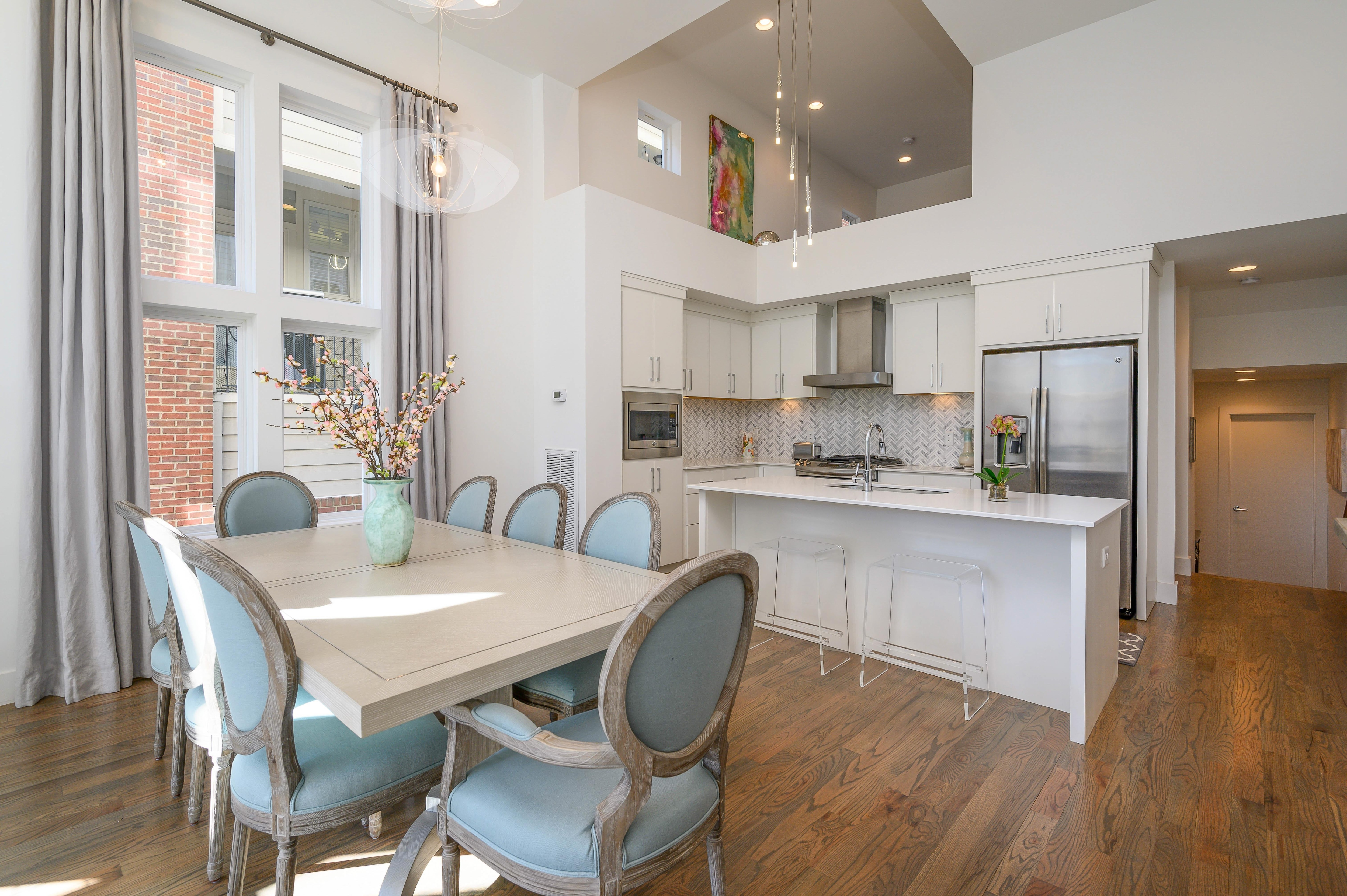 The open kitchen and dining area offers a great flow for entertaining.