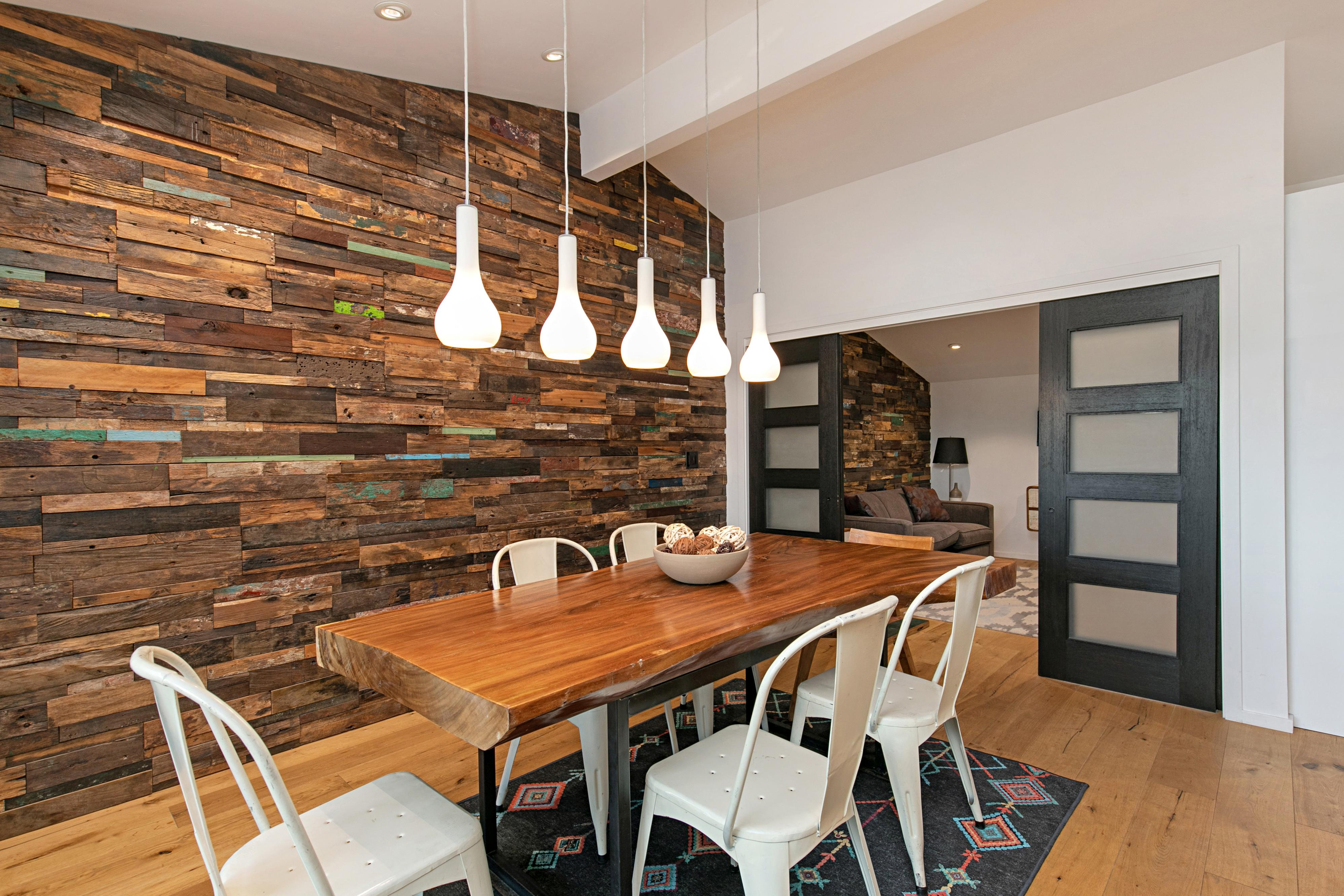When it's time to eat, gather around a reclaimed wood table and share a home-cooked meal.