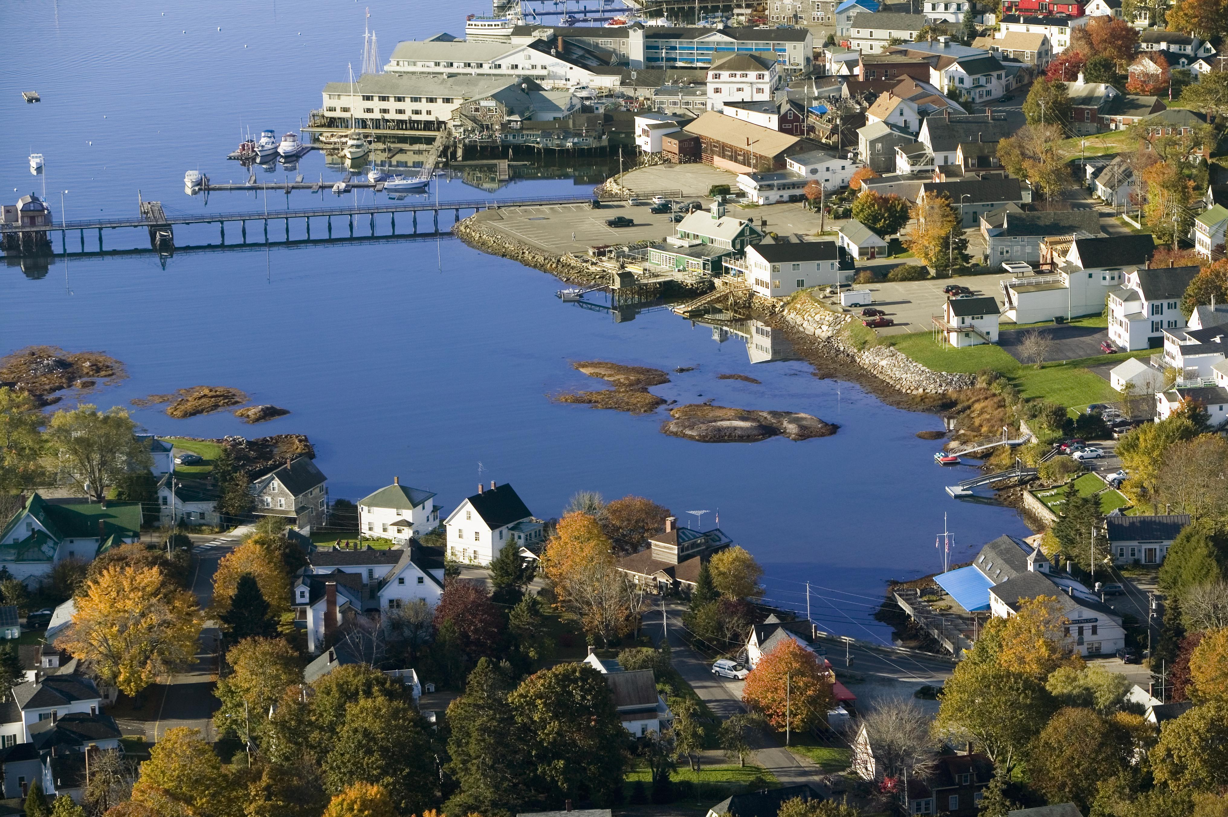 Easily stroll across the Boothbay footbridge to downtown.