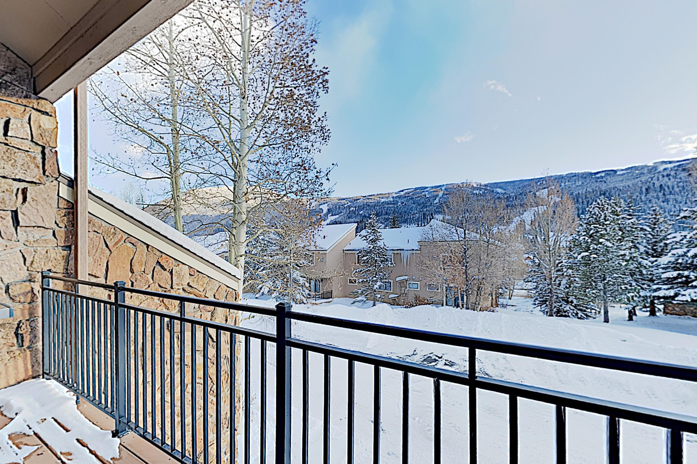 Take in the fresh air on your private mountain-view balcony.