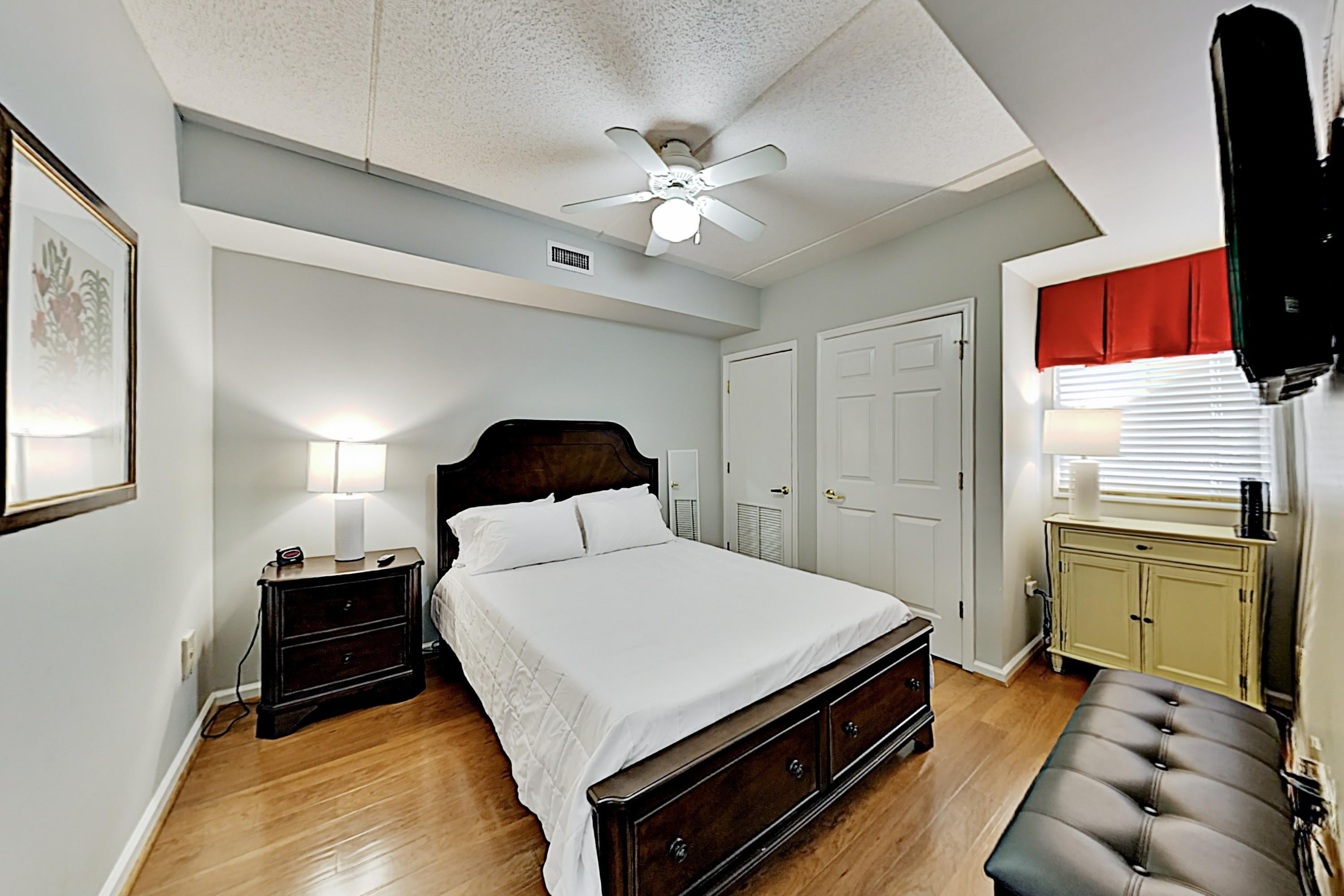 Sleep soundly in the bedroom, furnished with a comfortable queen bed.